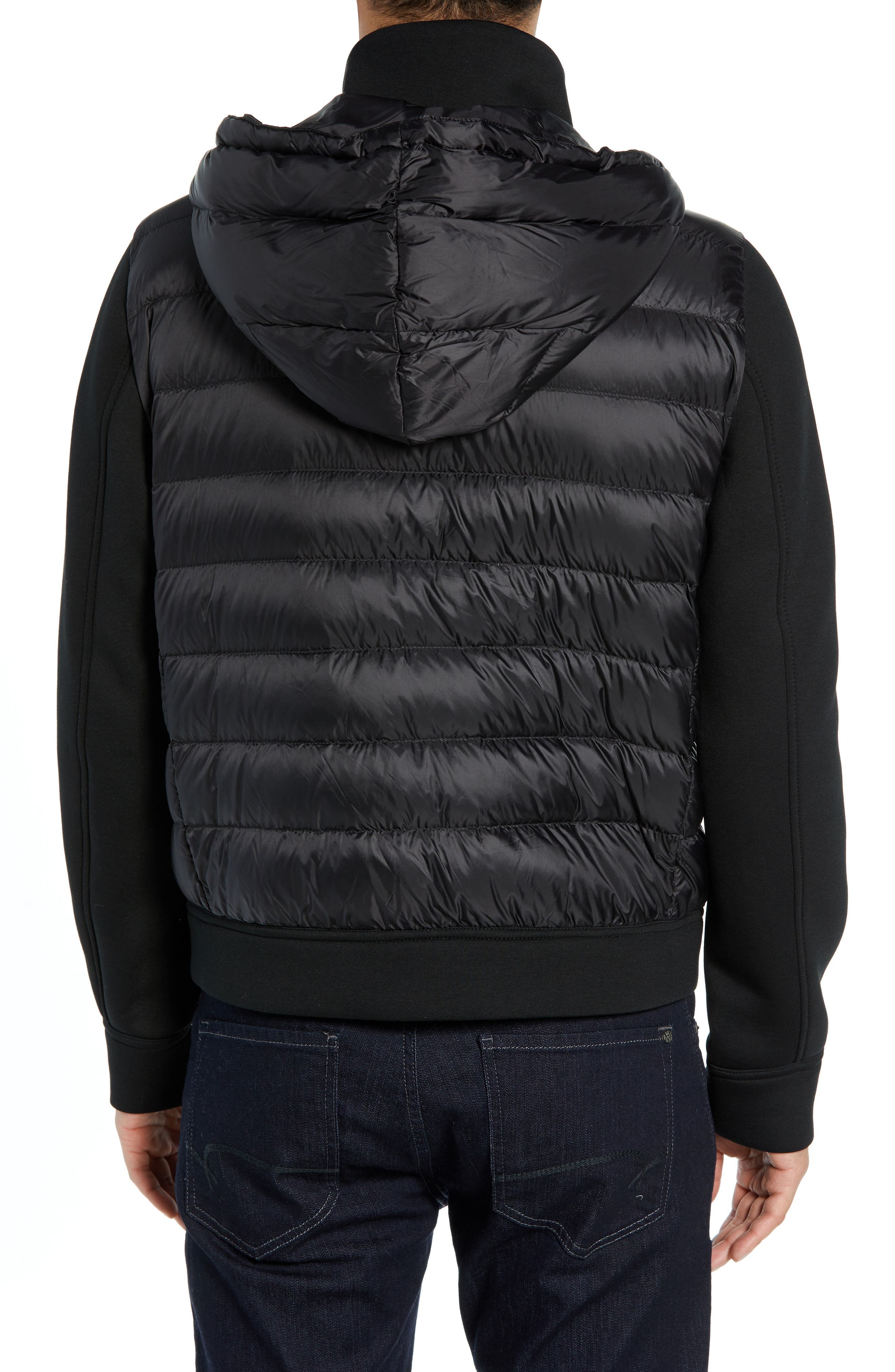 Quilted Down and Neoprene Hooded Jacket,                             Alternate thumbnail 2, color,                             BLACK