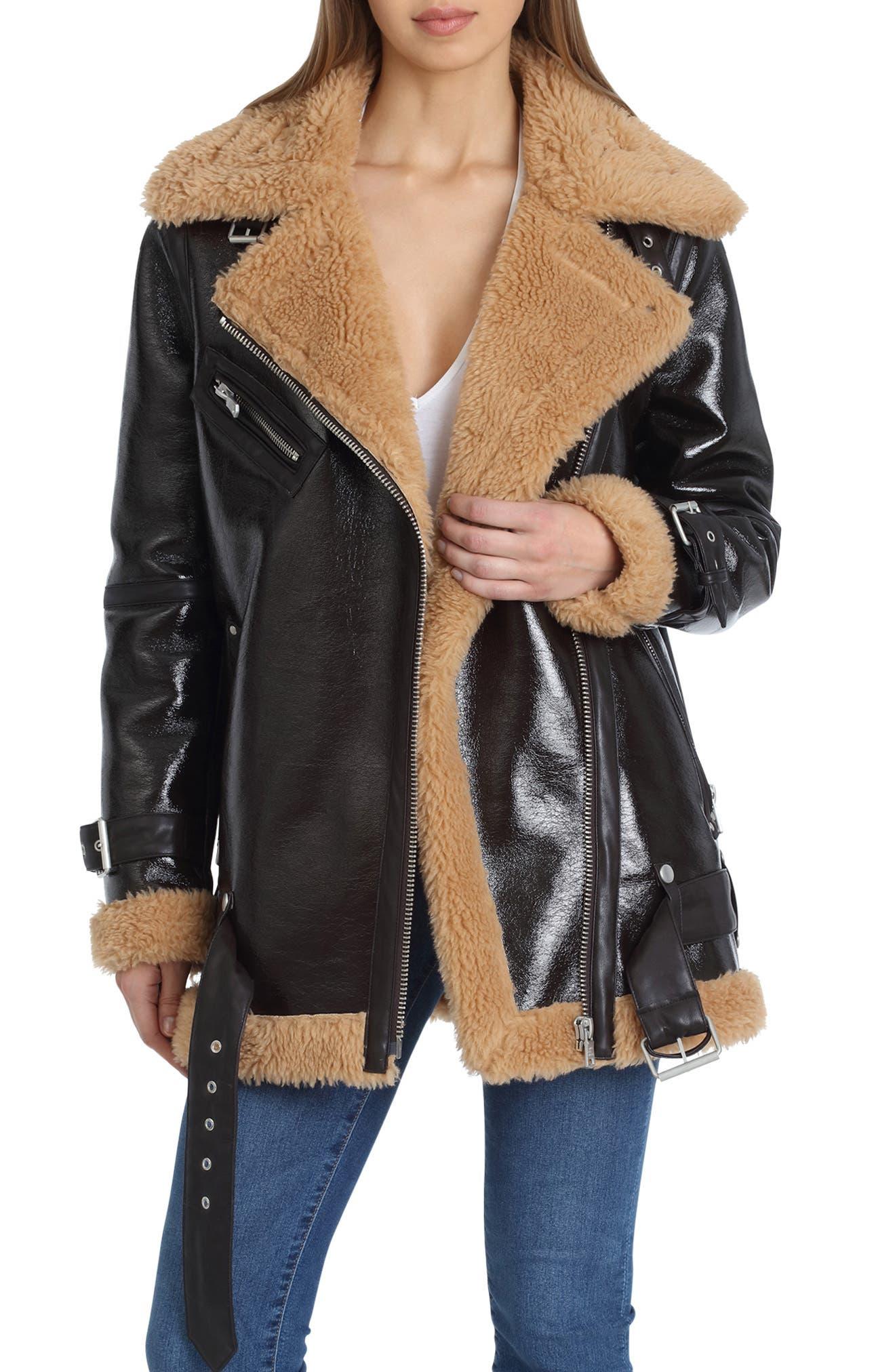 Faux Shearling Biker Jacket,                             Main thumbnail 1, color,                             ESPRESSO/ TAN