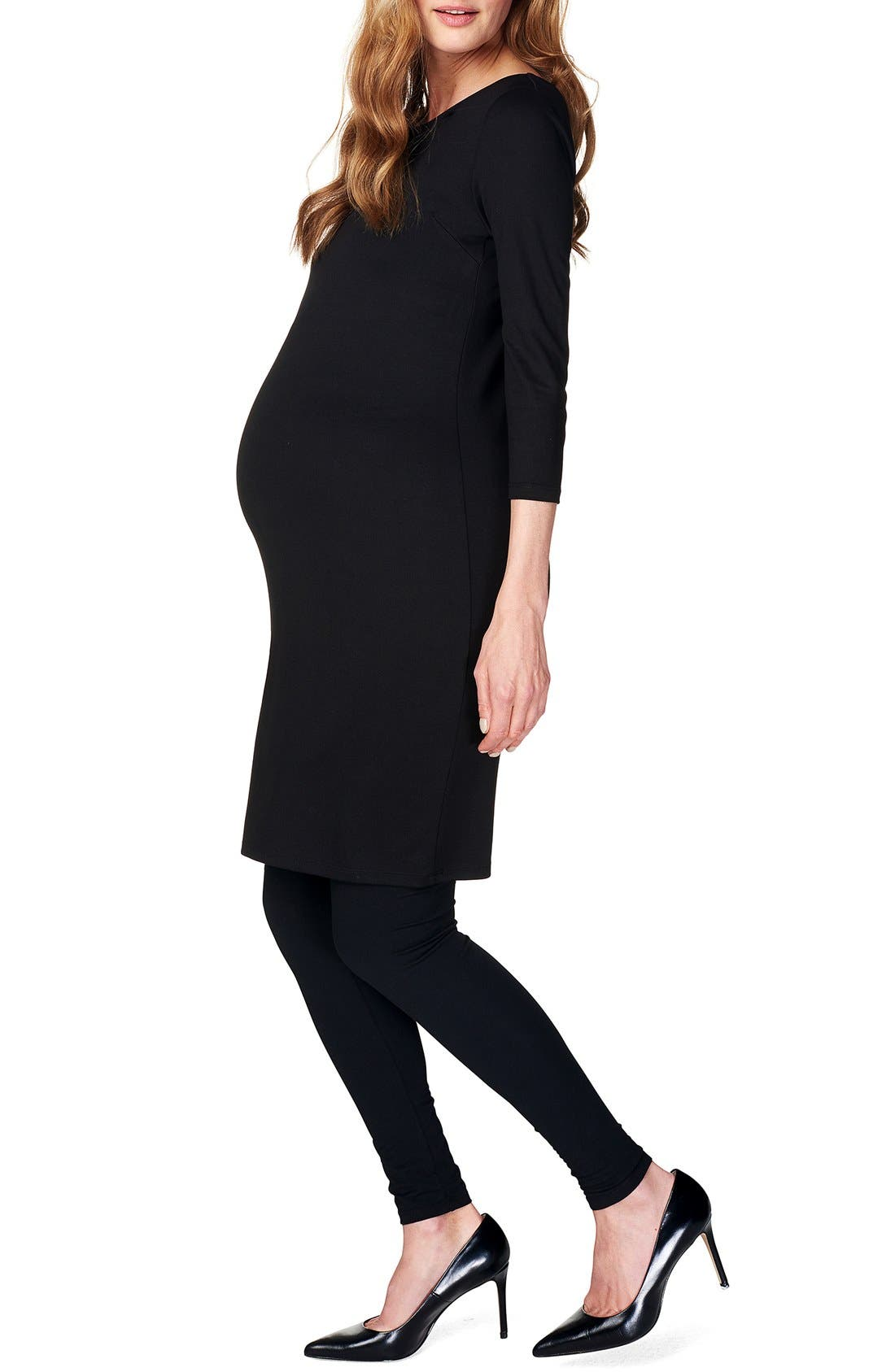 Maternity Dress,                             Alternate thumbnail 5, color,                             BLACK