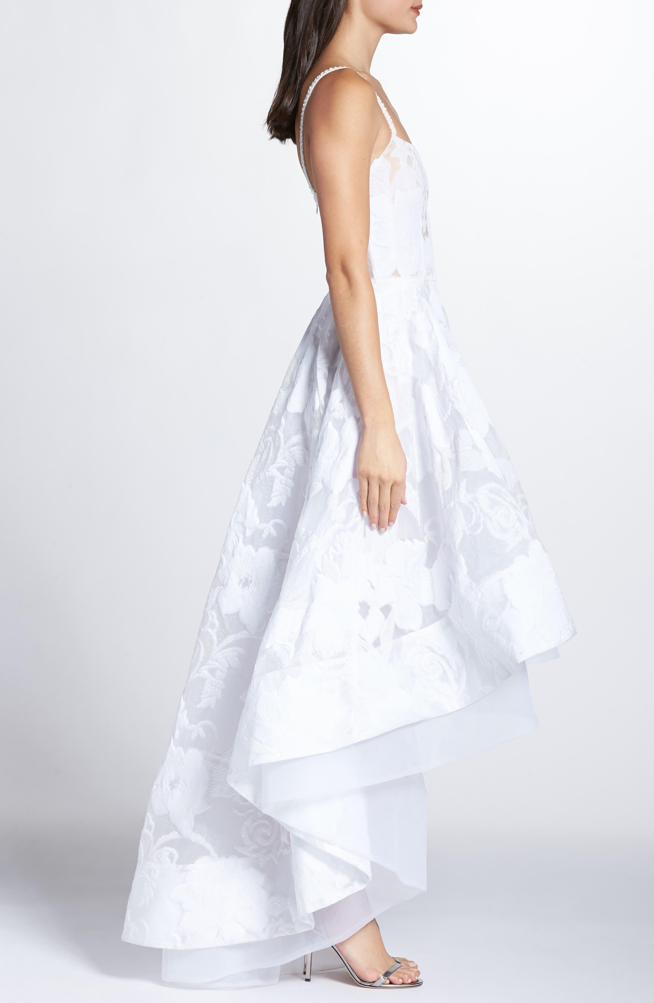 Boheme Floral High/Low Dress,                             Alternate thumbnail 3, color,                             WHITE