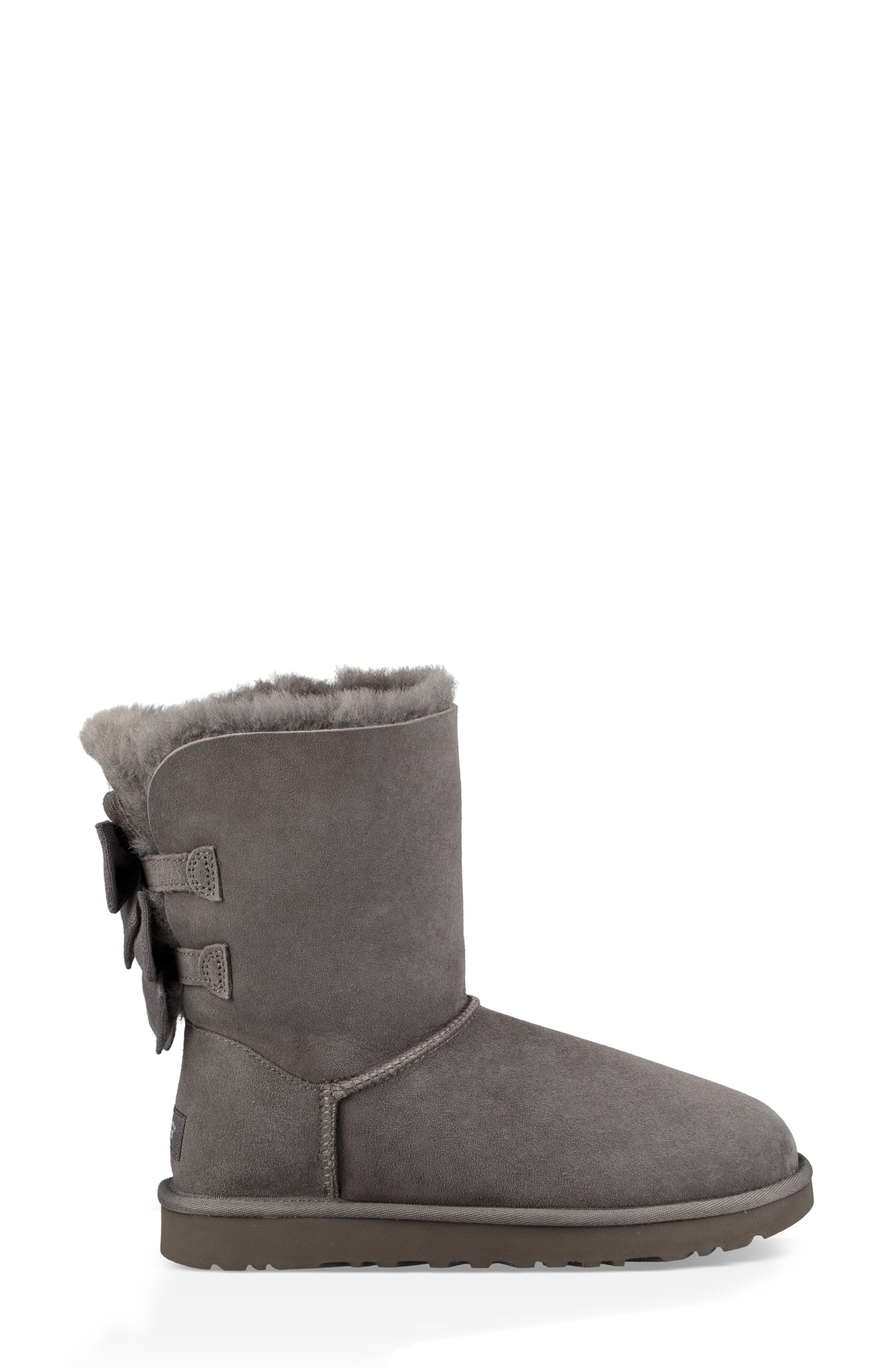 Bailey Bow Genuine Shearling Bootie,                             Alternate thumbnail 3, color,                             020