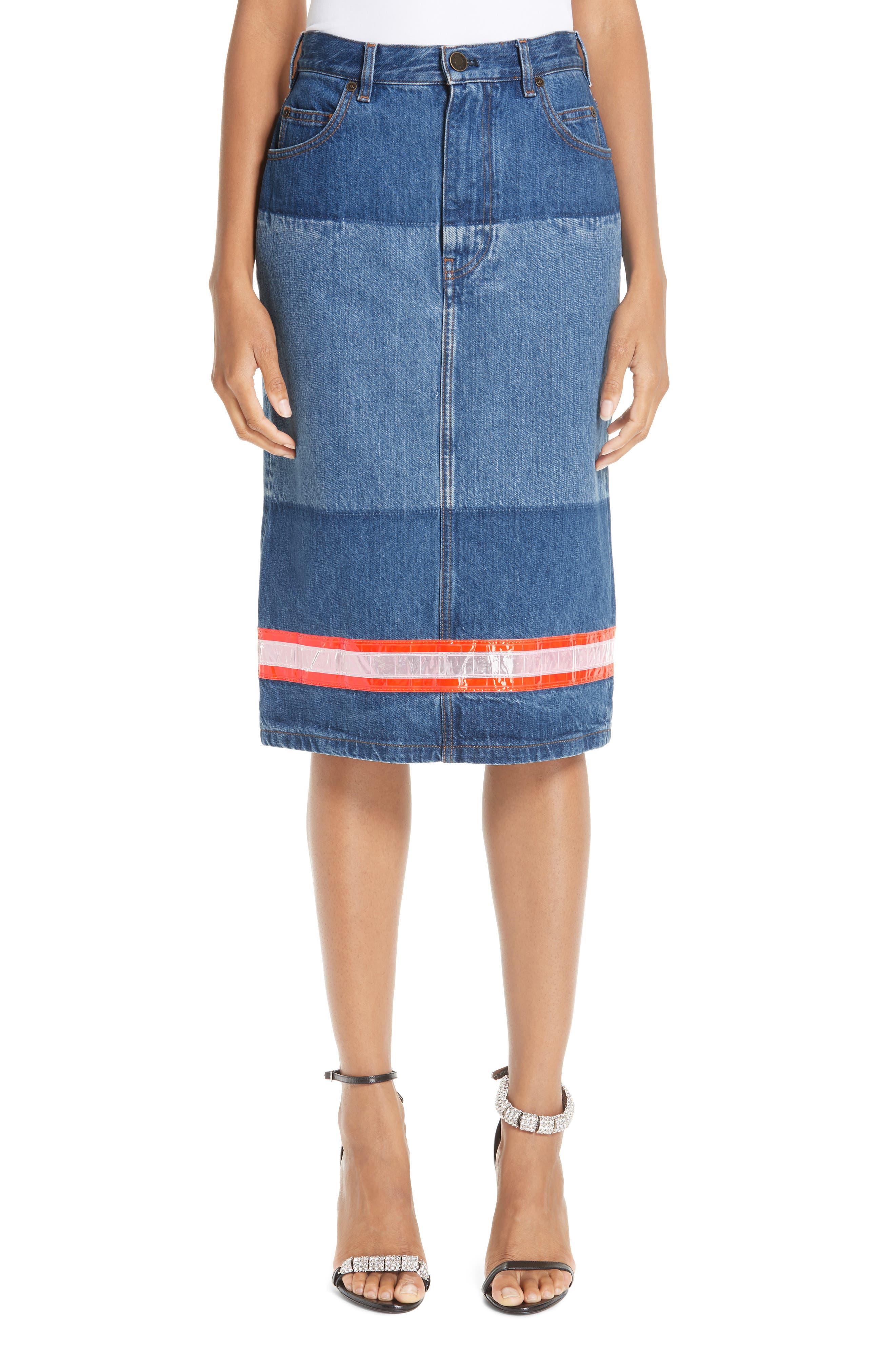 CALVIN KLEIN 205W39NYC,                             Reflective Stripe Mixed Wash Denim Skirt,                             Main thumbnail 1, color,                             BLUE