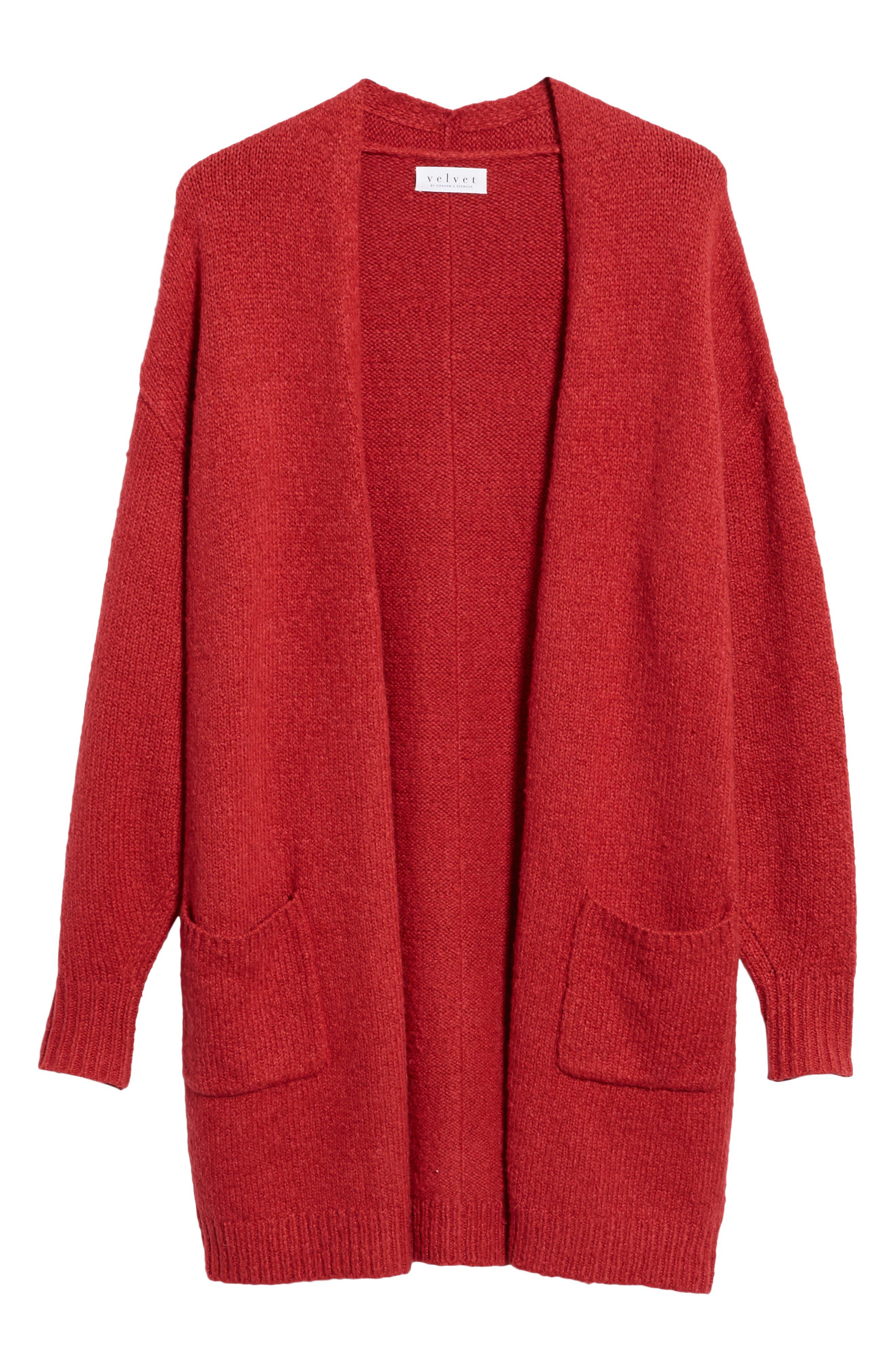 Cotton Blend Cardigan,                             Alternate thumbnail 6, color,                             RED