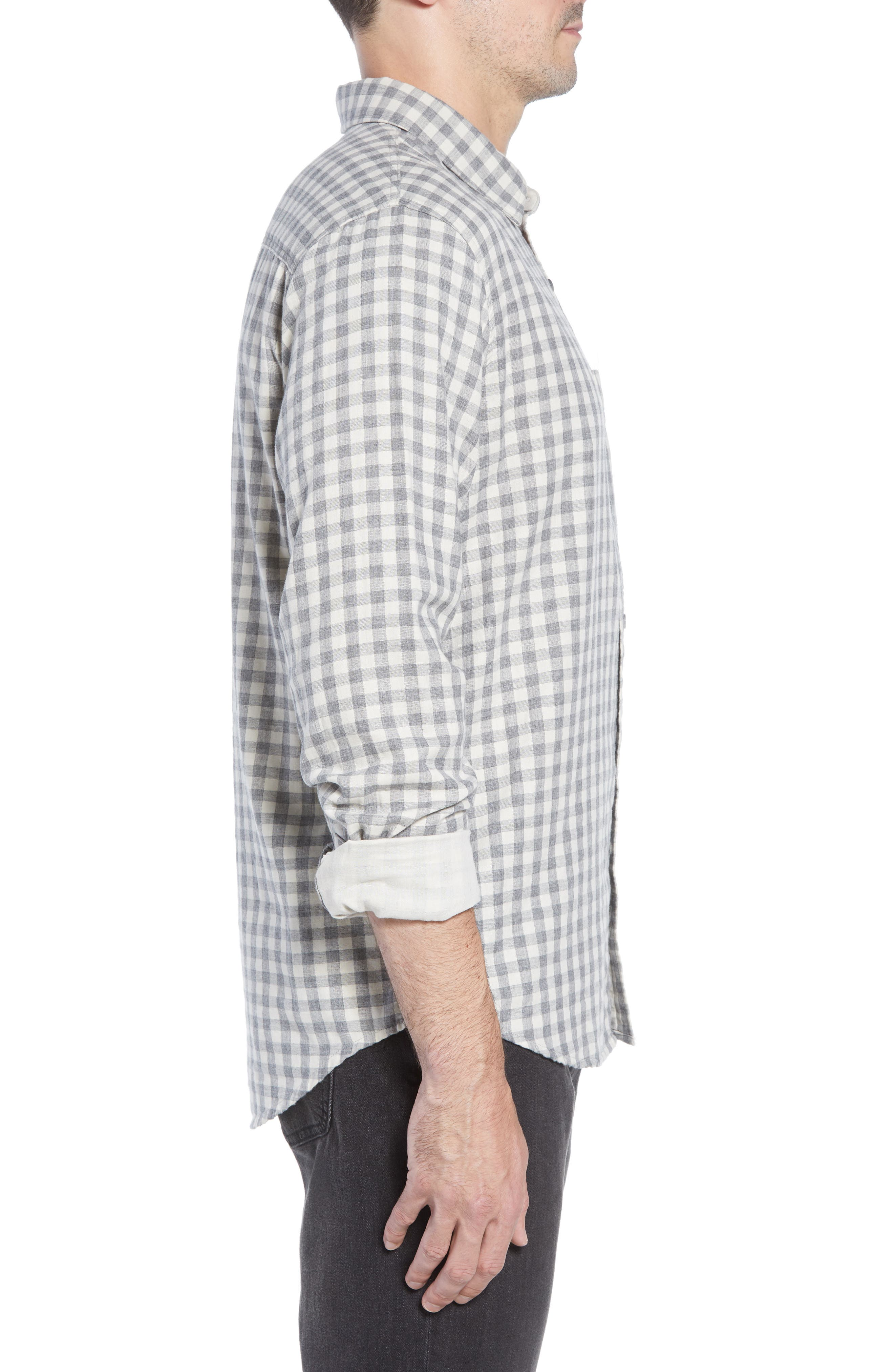 Connor Regular Fit Check Sport Shirt,                             Alternate thumbnail 4, color,                             EGGSHELL GREY