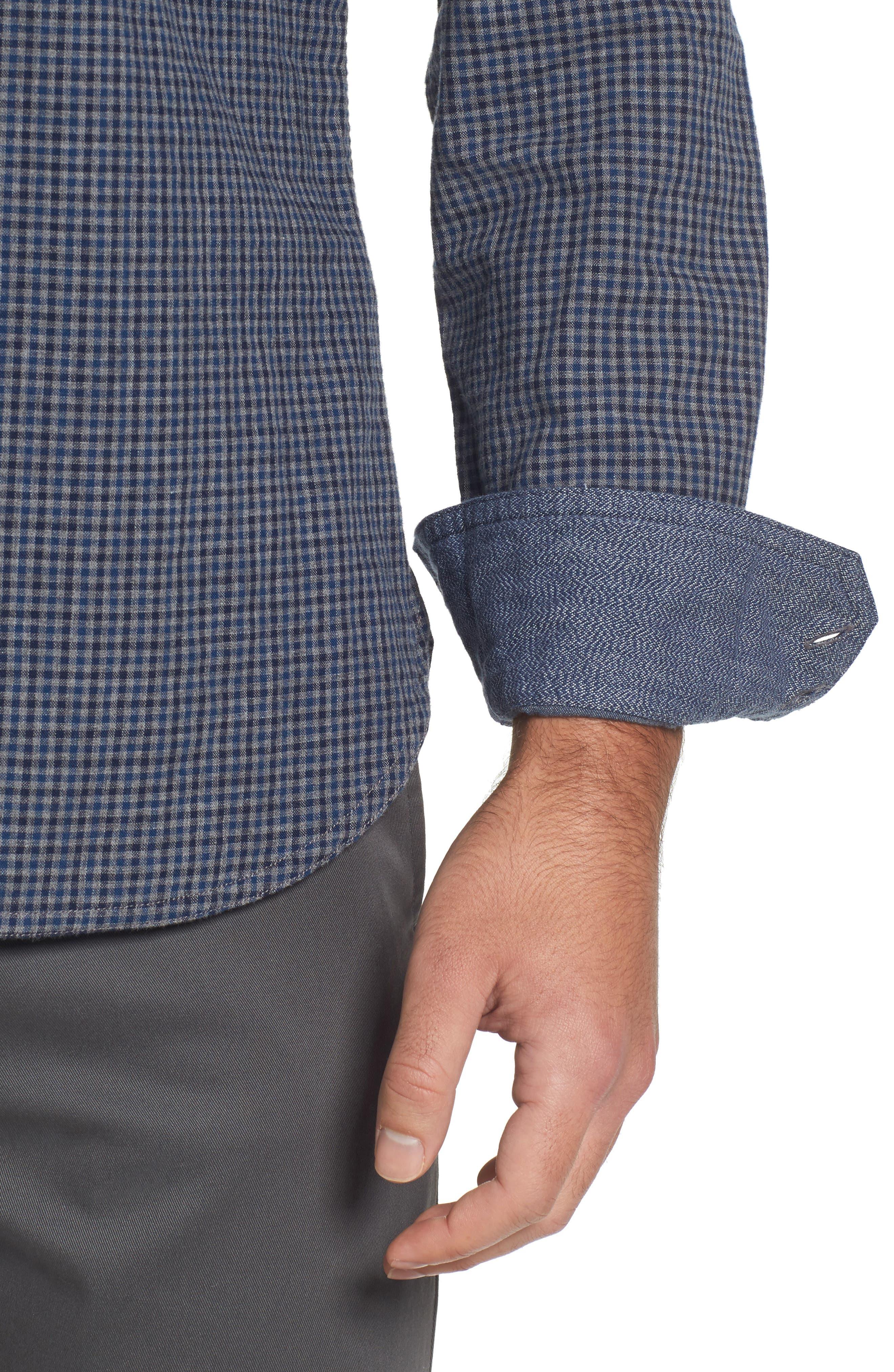 Slim Fit Micro Check Sport Shirt,                             Alternate thumbnail 4, color,                             021