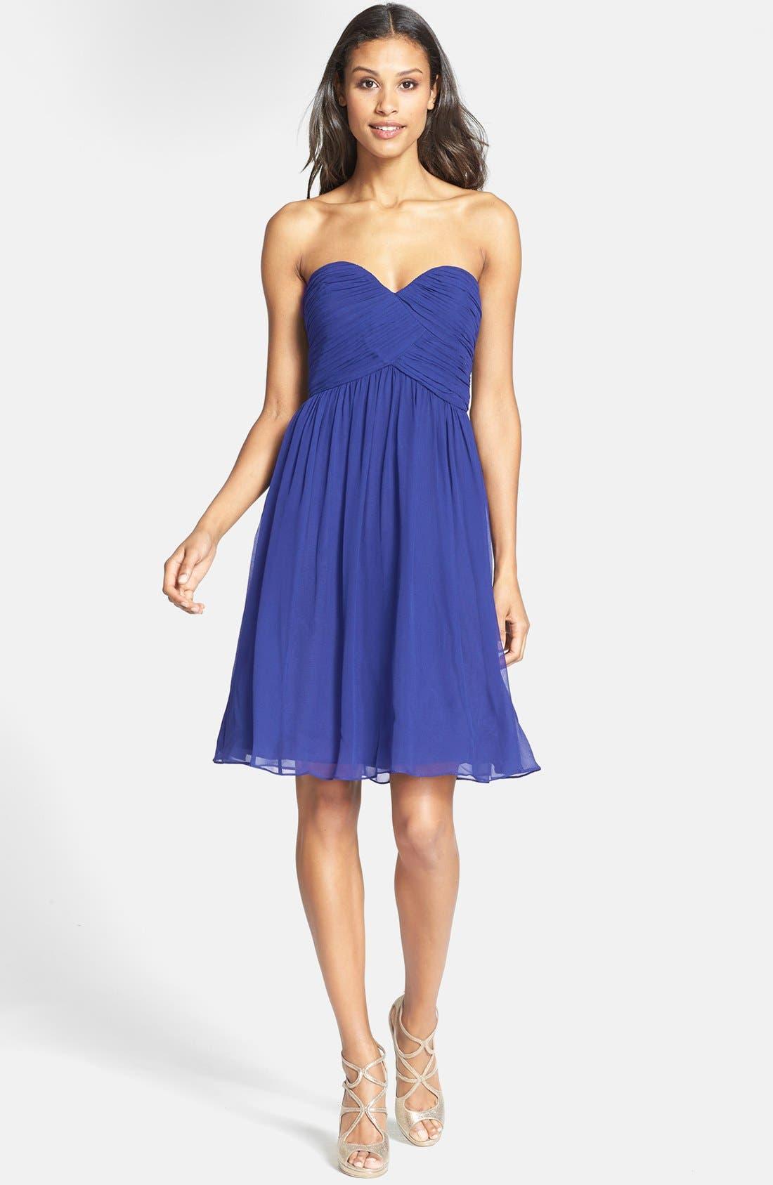 'Morgan' Strapless Silk Chiffon Dress,                             Main thumbnail 14, color,