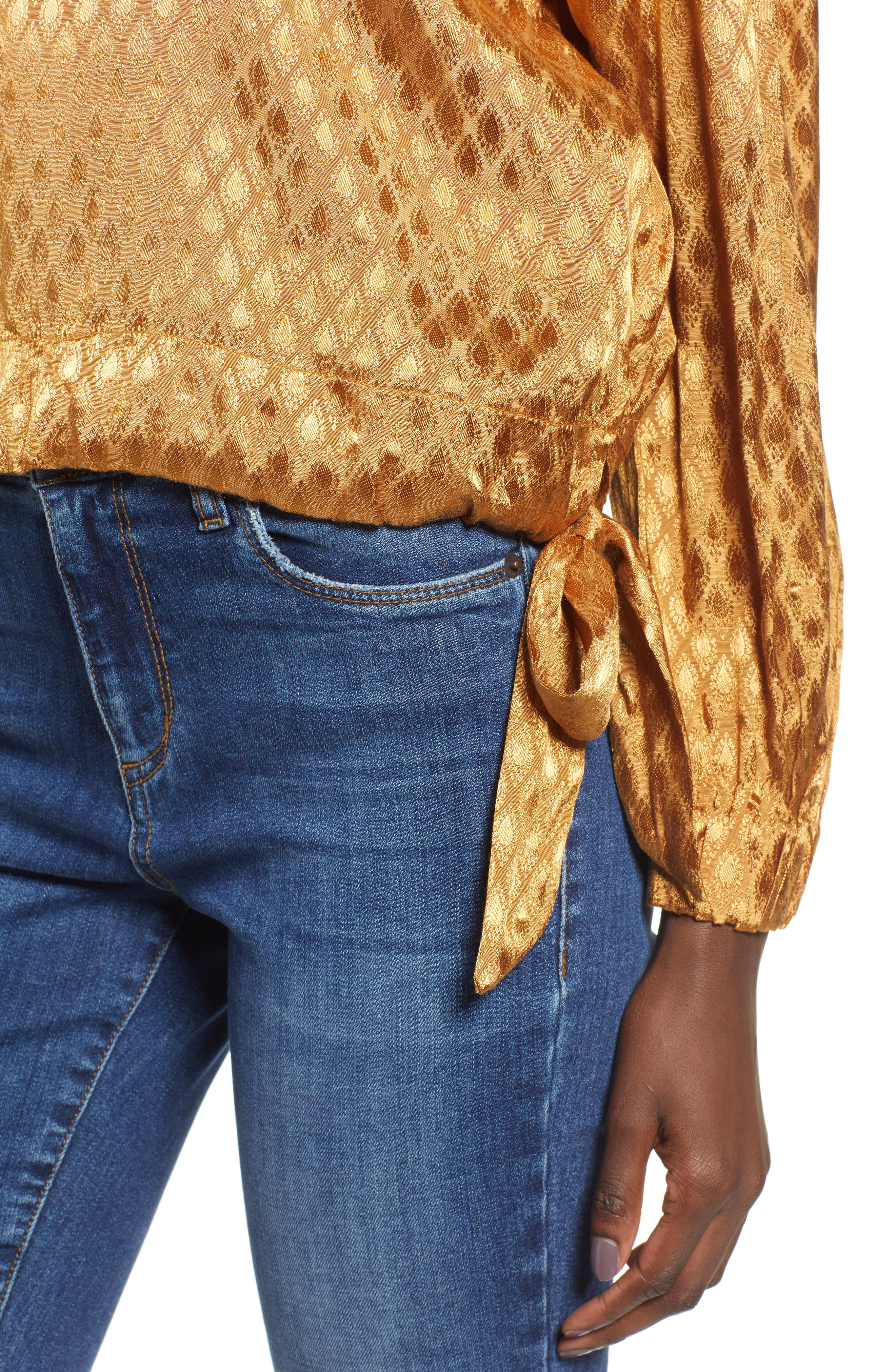 Reed Jacquard Top,                             Alternate thumbnail 4, color,                             GOLD
