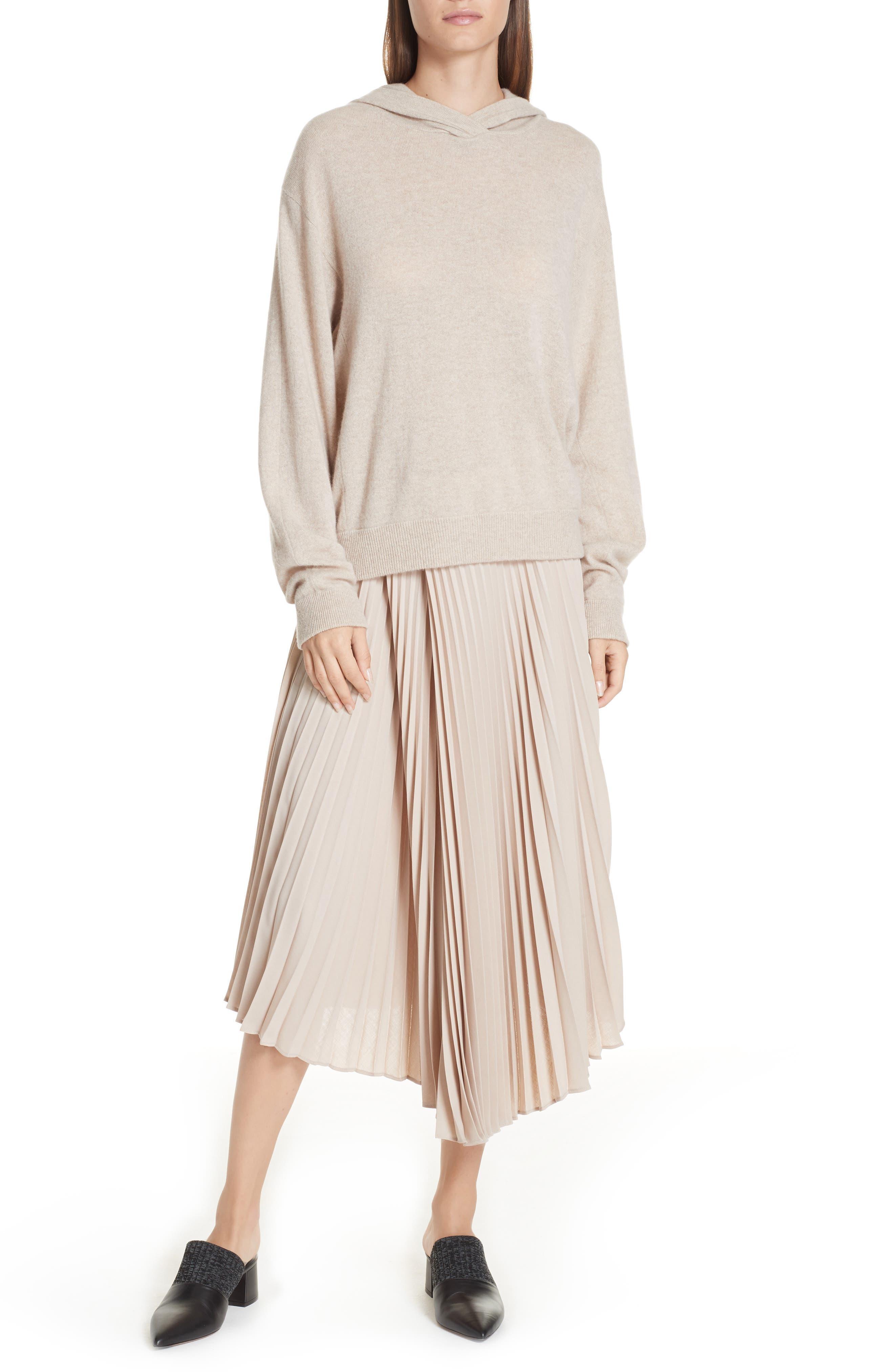 Asymmetric Hem Pleated Skirt,                             Alternate thumbnail 7, color,                             STONEWARE