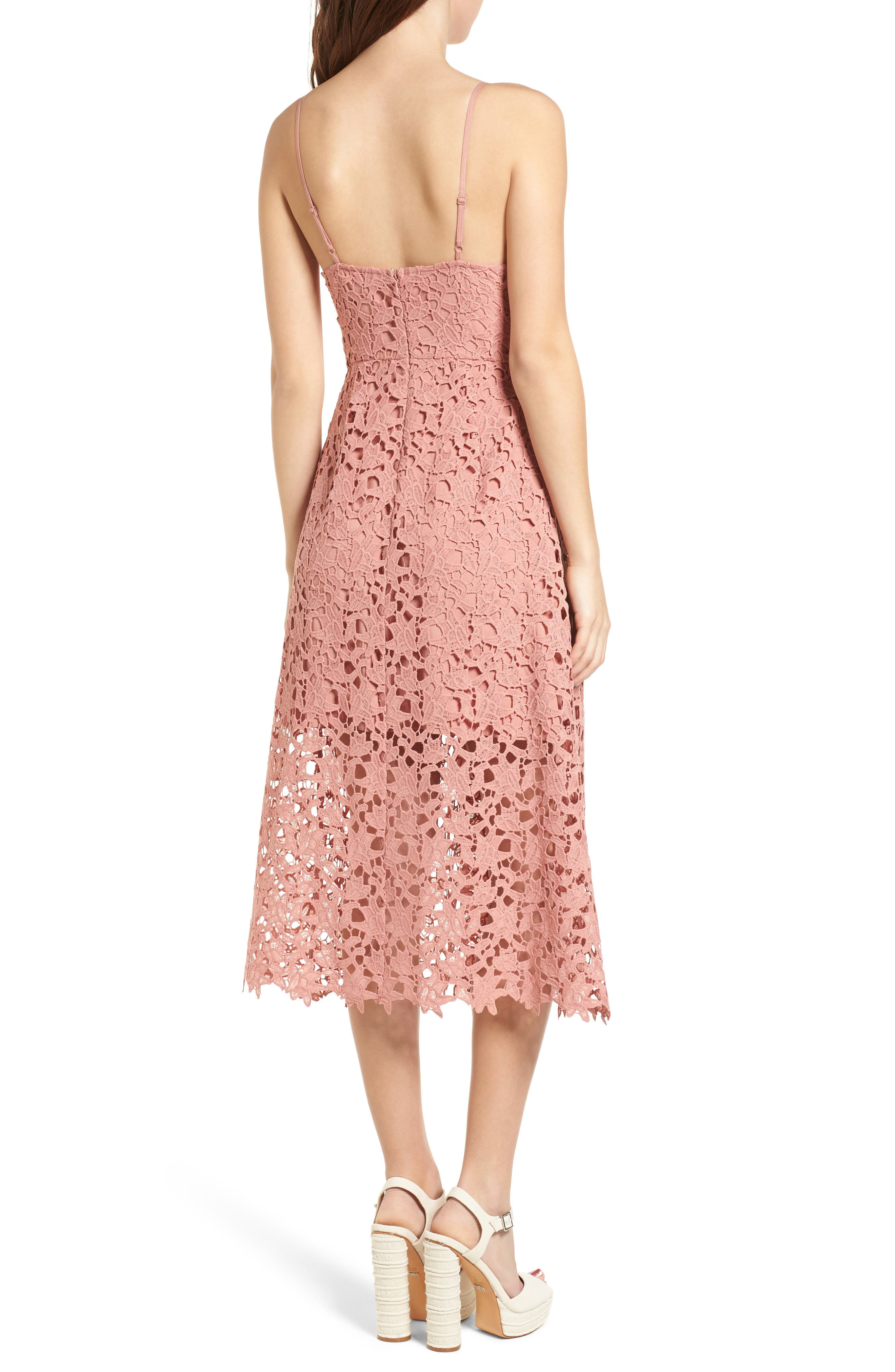 Lace Midi Dress,                             Alternate thumbnail 2, color,                             DARK BLUSH