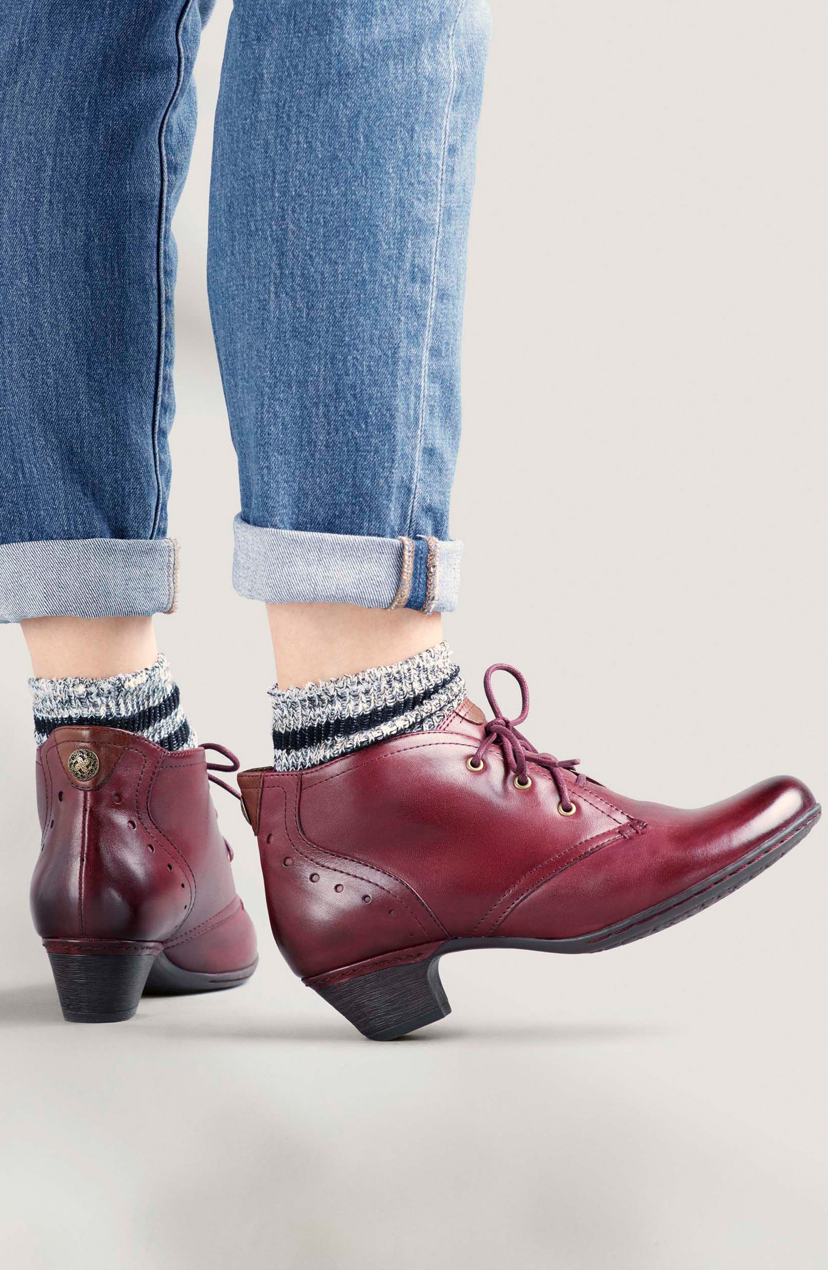 Aria Leather Boot,                             Alternate thumbnail 7, color,                             MERLOT LEATHER