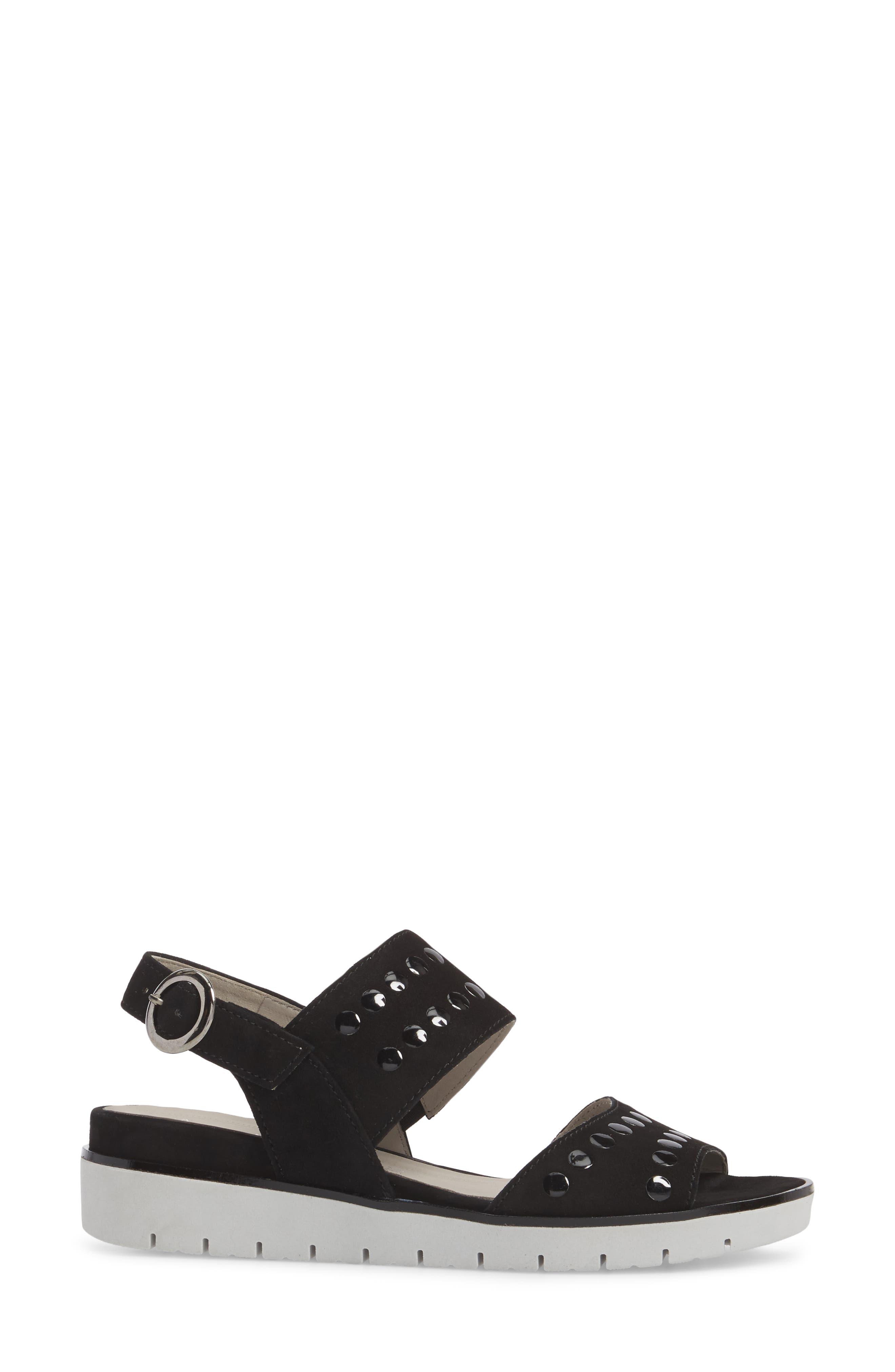 Studded Sandal,                             Alternate thumbnail 3, color,                             BLACK SUEDE