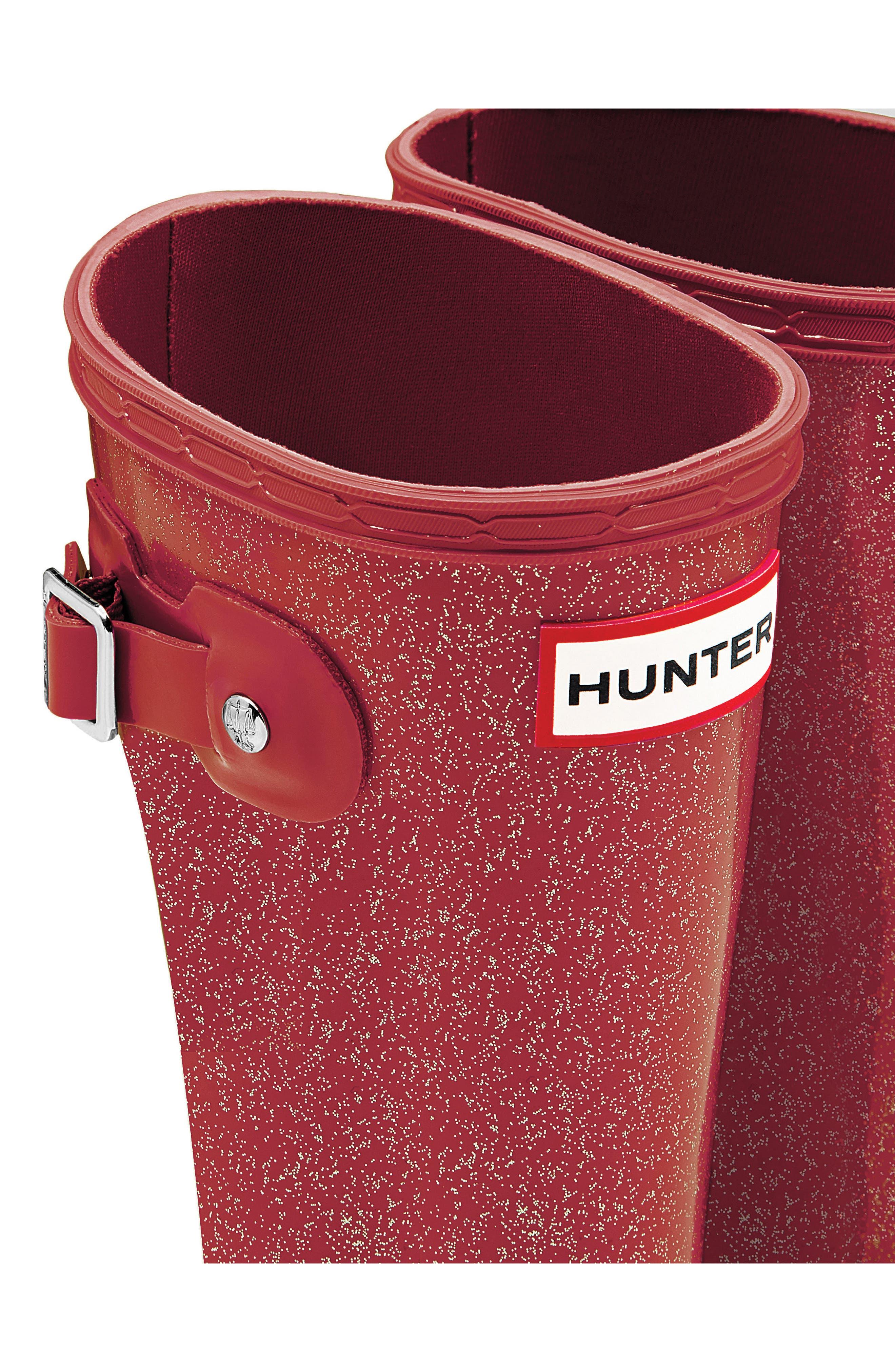 HUNTER,                             Original Glitter Rain Boot,                             Alternate thumbnail 5, color,                             625
