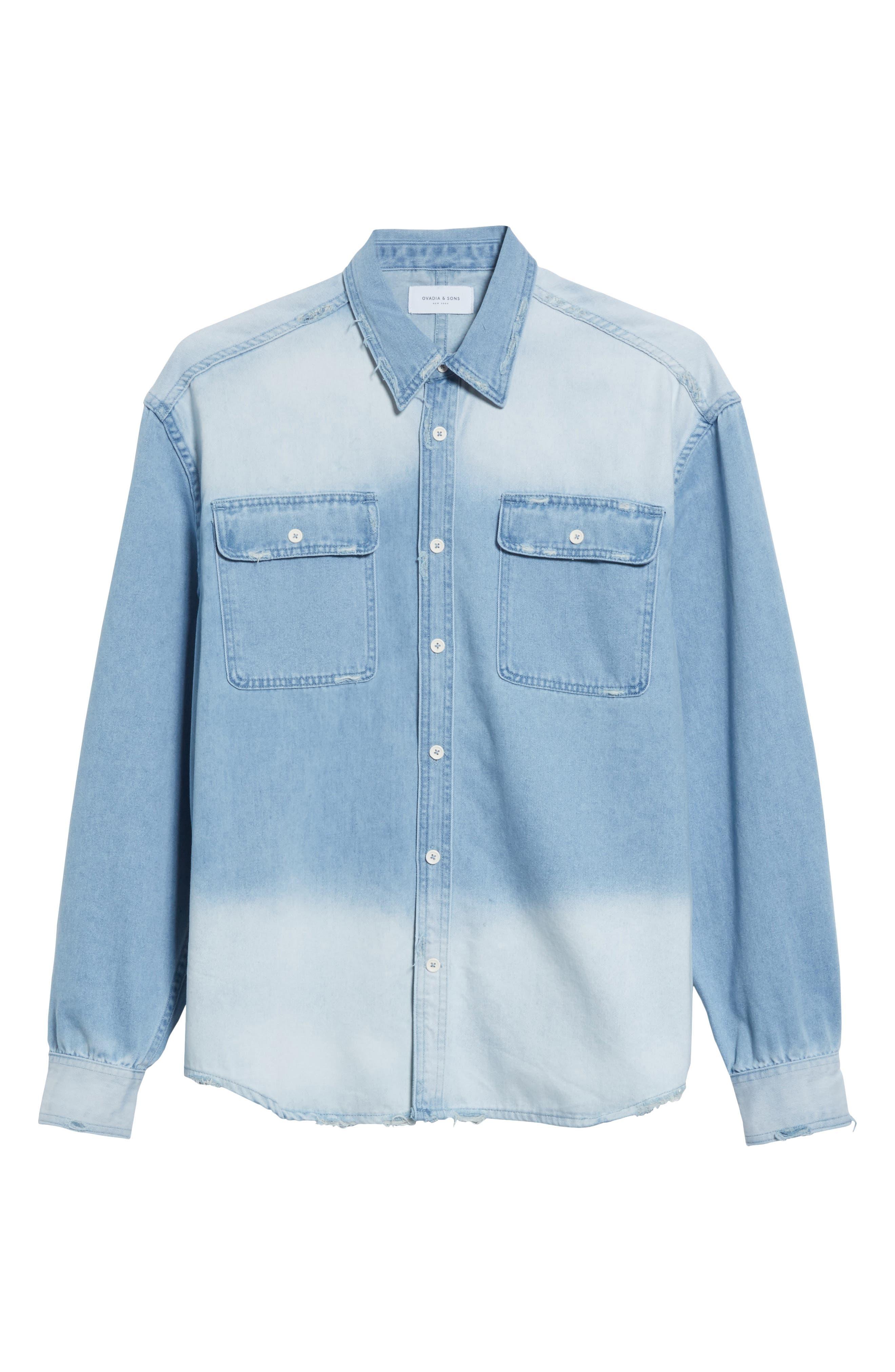 Oversize Distressed Denim Shirt,                             Alternate thumbnail 6, color,                             WASHED DENIM