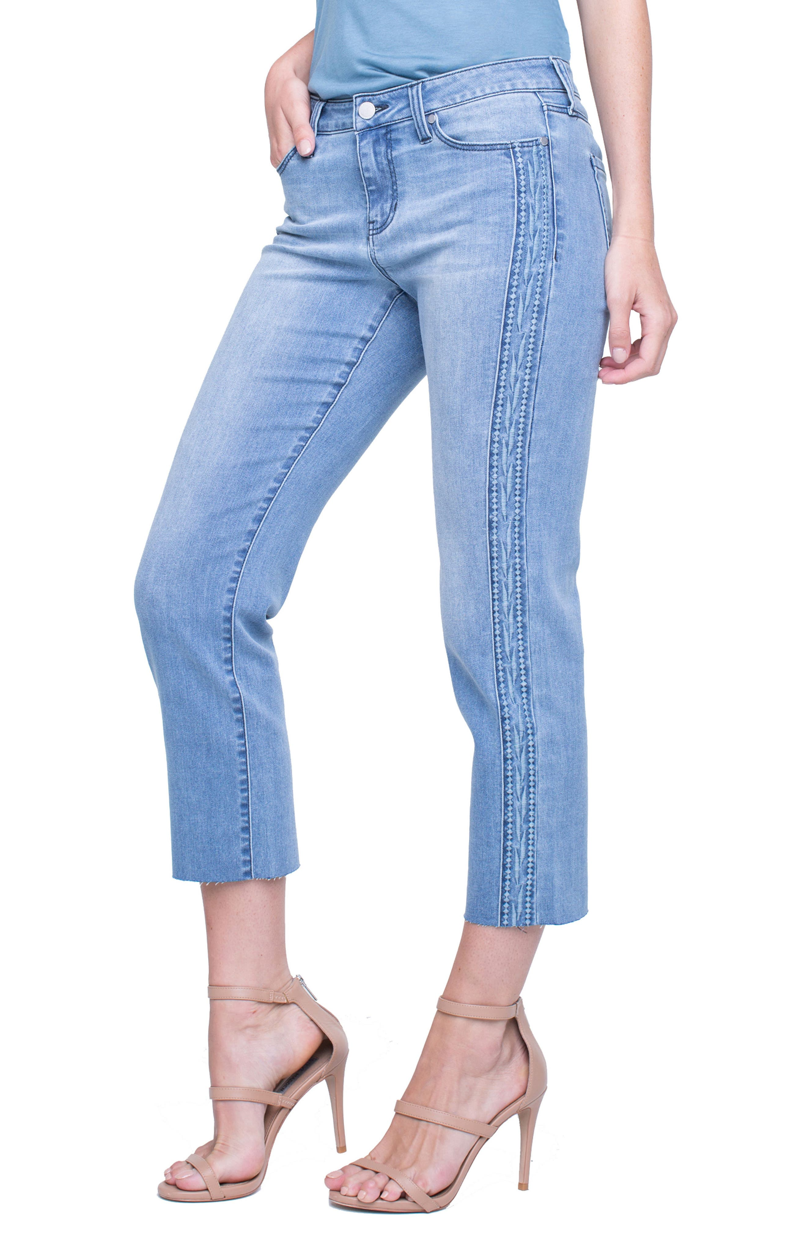 LIVERPOOL Embroidered Tuxedo Stripe Raw Hem Jeans, Main, color, 401