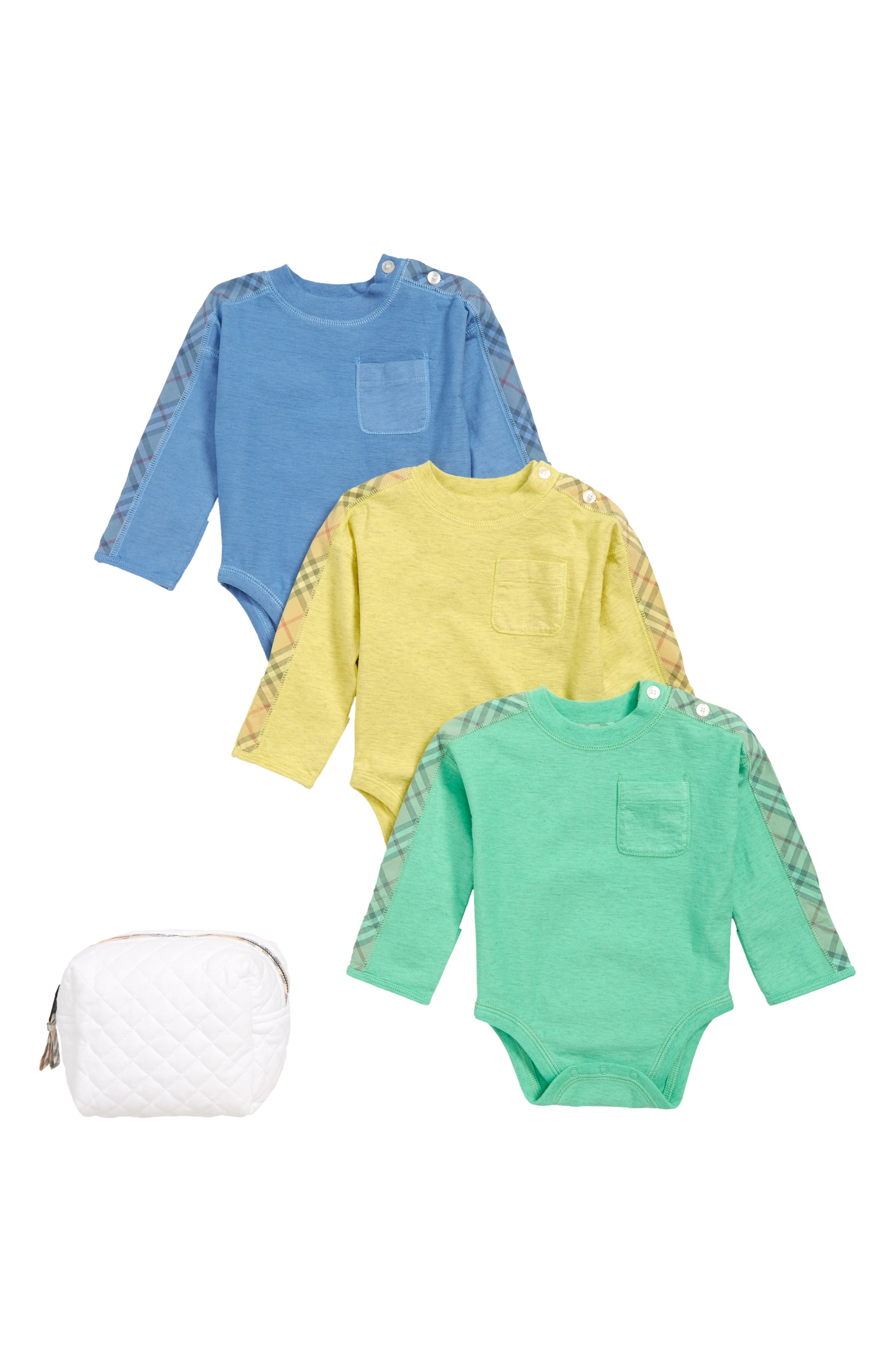 Infant Boys Burberry Alby Bodysuit Set Size 1M  Blue