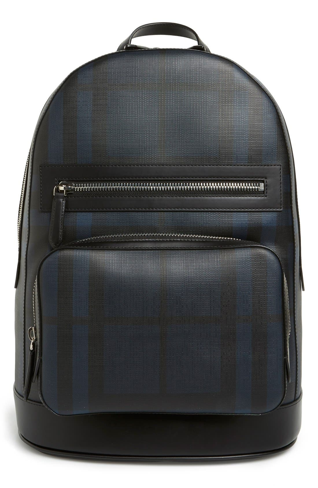 London Check Backpack, Main, color, 410