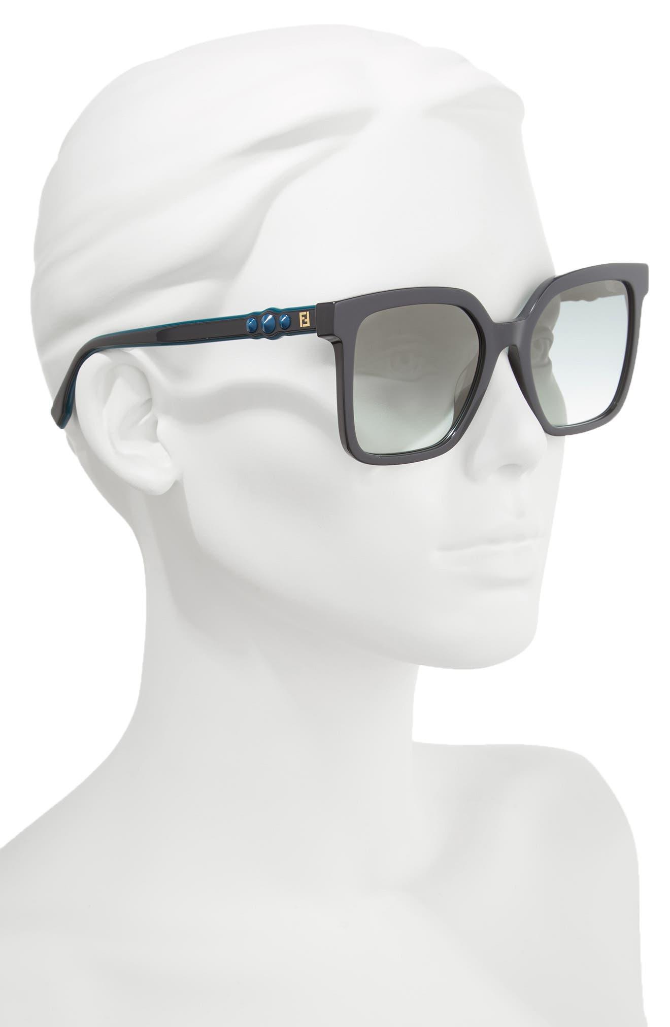 54mm Square Sunglasses,                             Alternate thumbnail 2, color,                             GREY