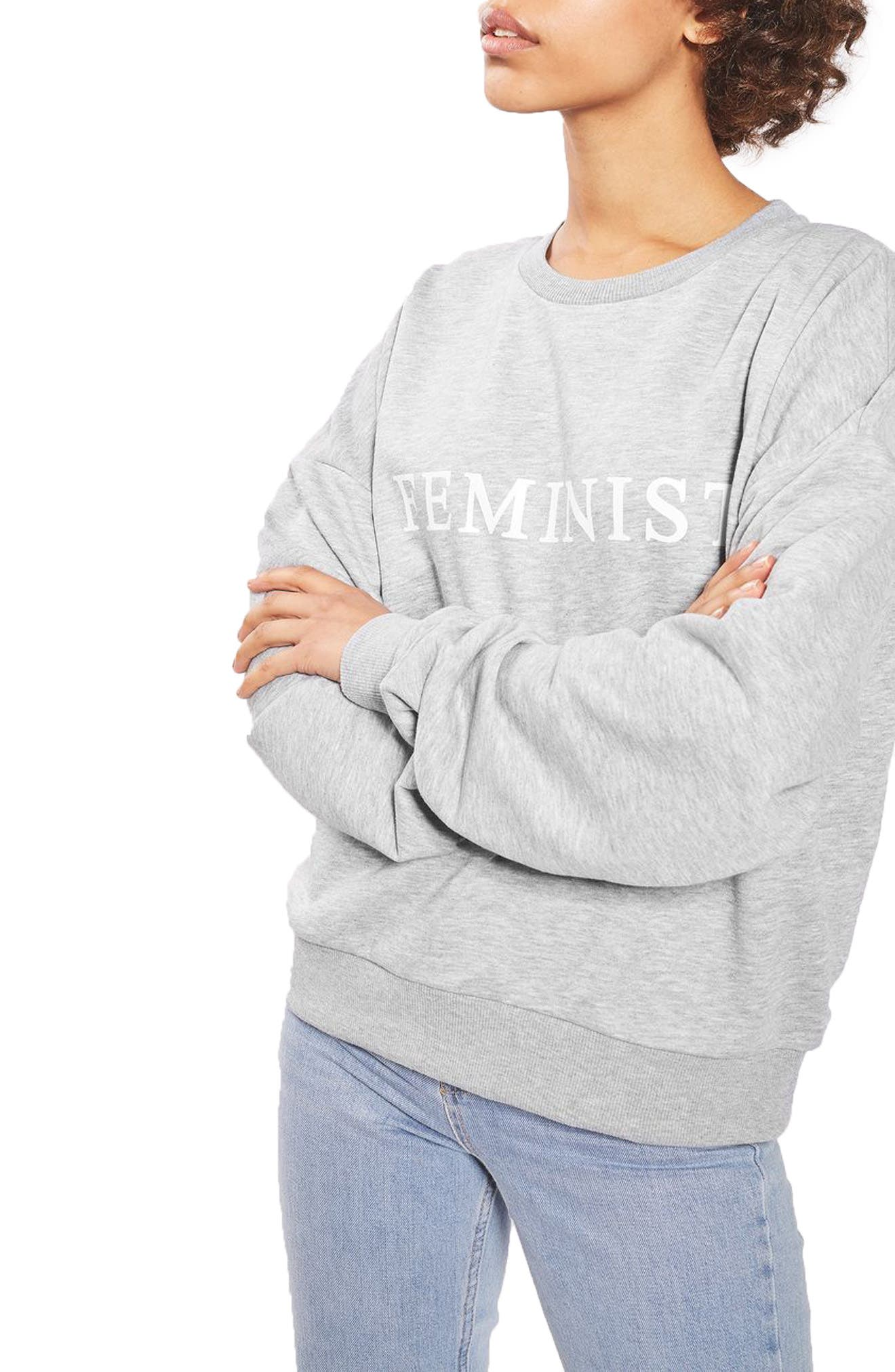 TOPSHOP,                             Feminist Sweatshirt,                             Main thumbnail 1, color,                             020