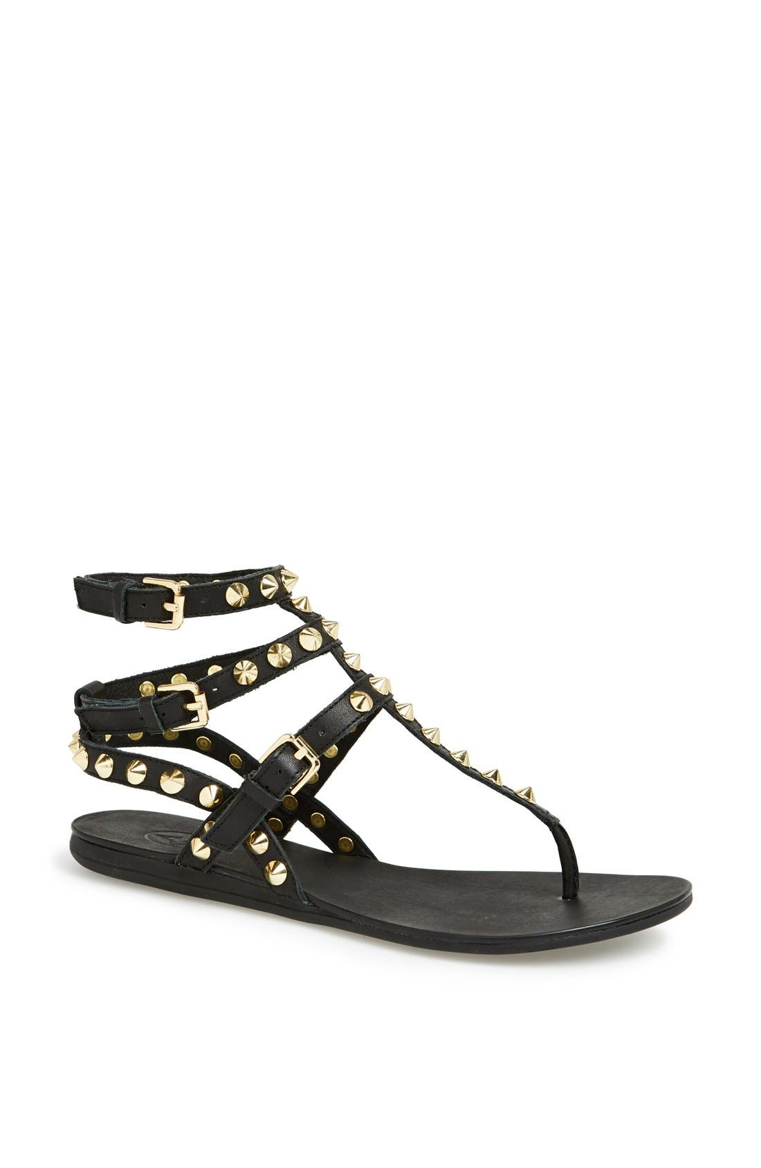 ASH,                             'Oasis' Studded Ankle Strap Sandal,                             Main thumbnail 1, color,                             001
