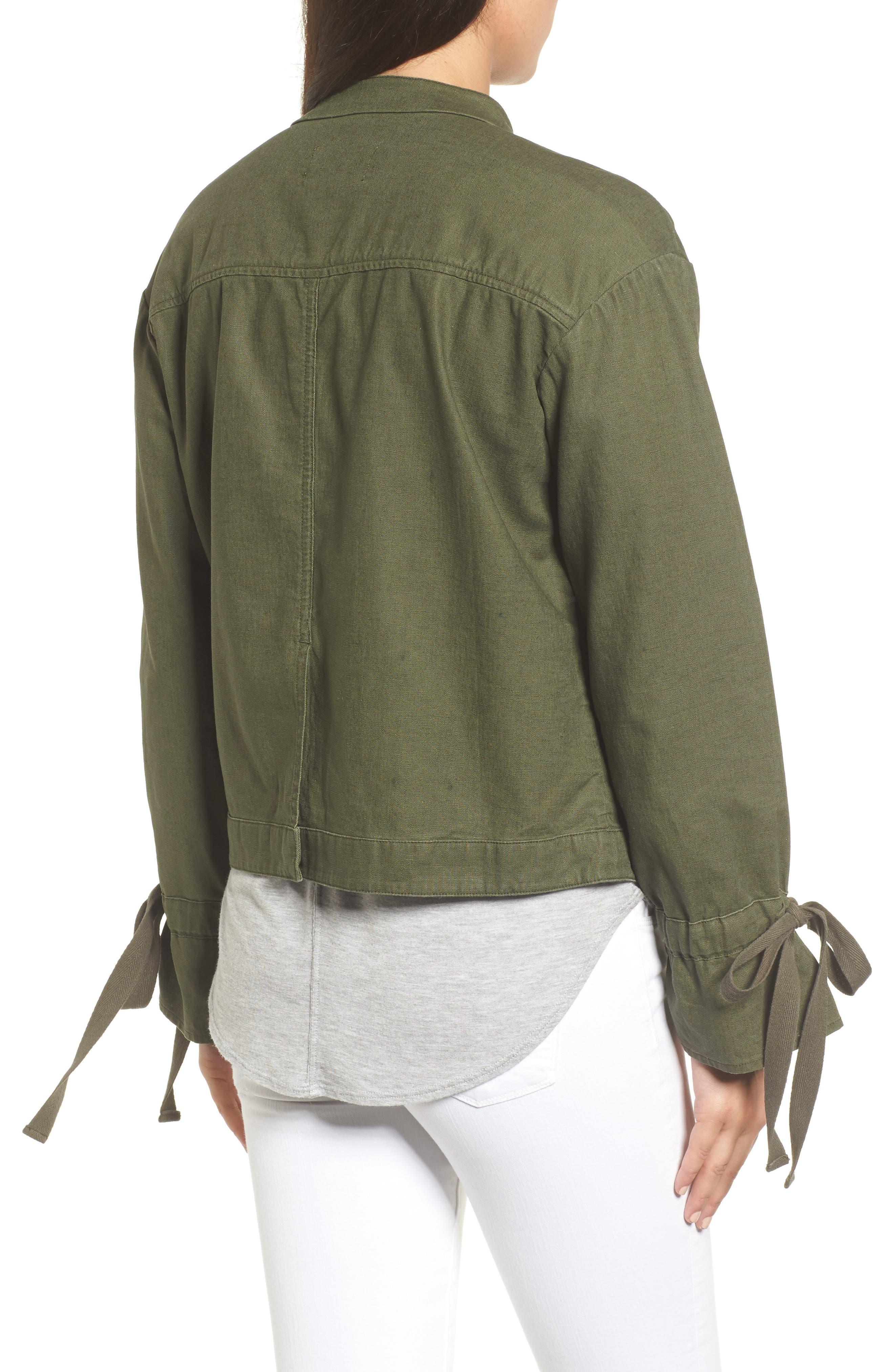 Tie Sleeve Linen & Cotton Jacket,                             Alternate thumbnail 5, color,