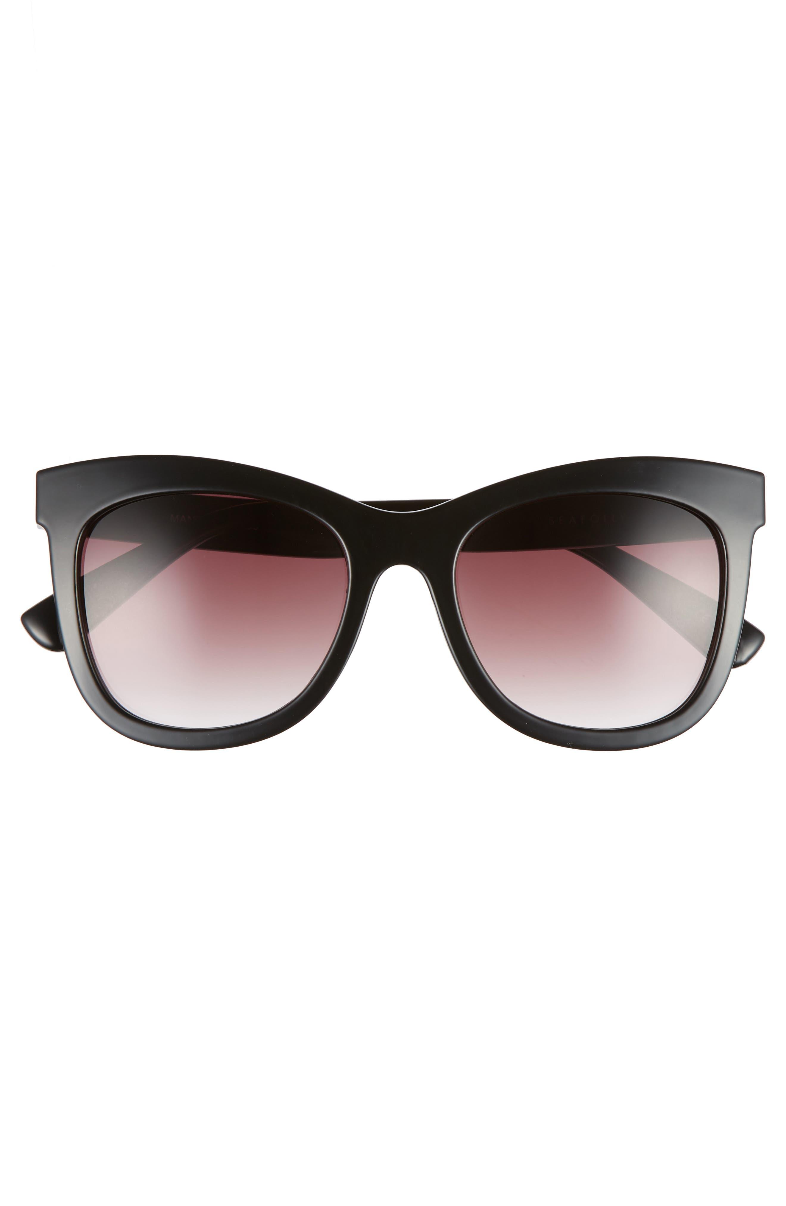 Manly 52mm Cat Eye Sunglasses,                             Alternate thumbnail 3, color,                             BLACK