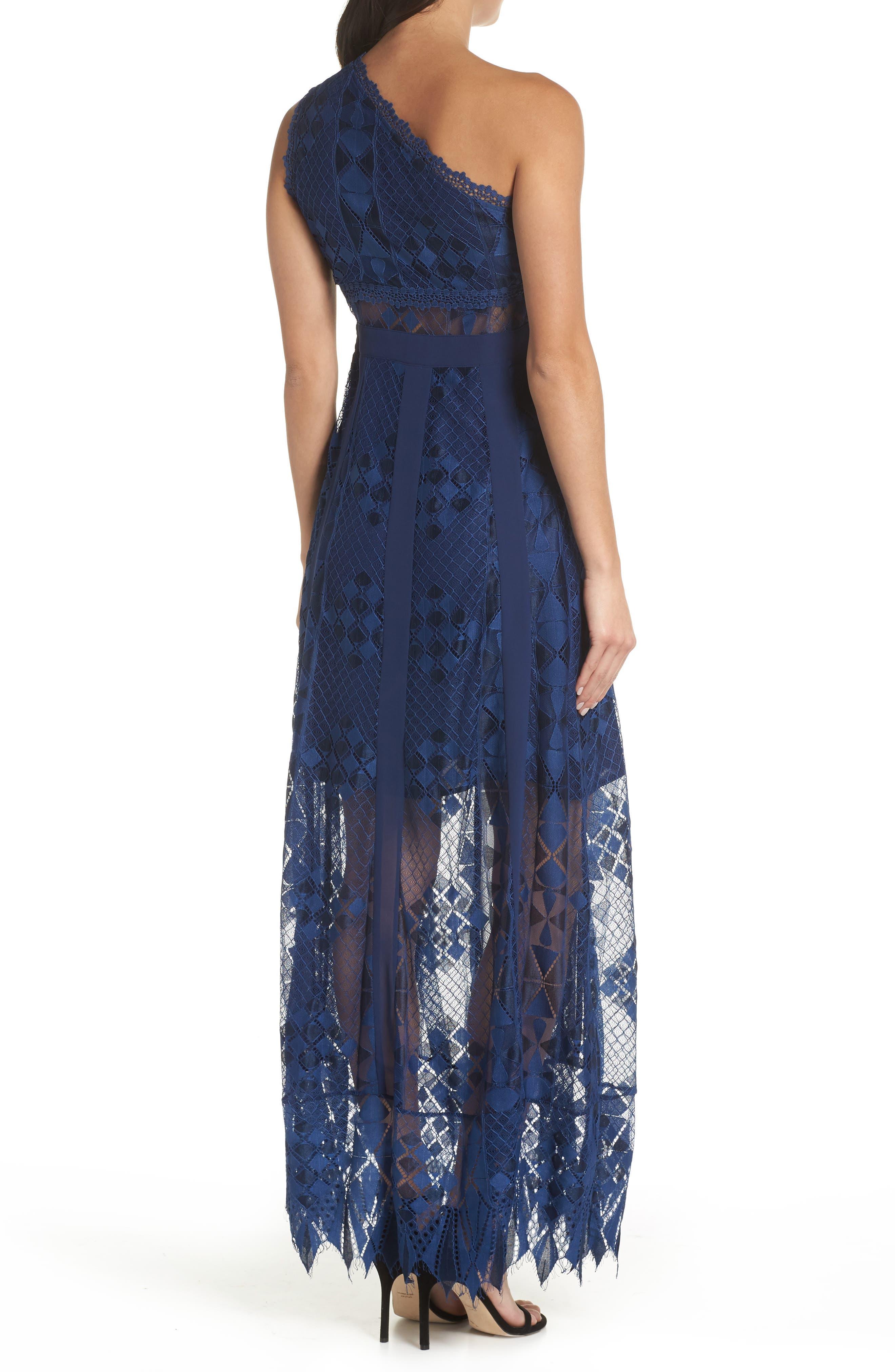 Juliet One-Shoulder Lace Gown,                             Alternate thumbnail 2, color,                             NAVY
