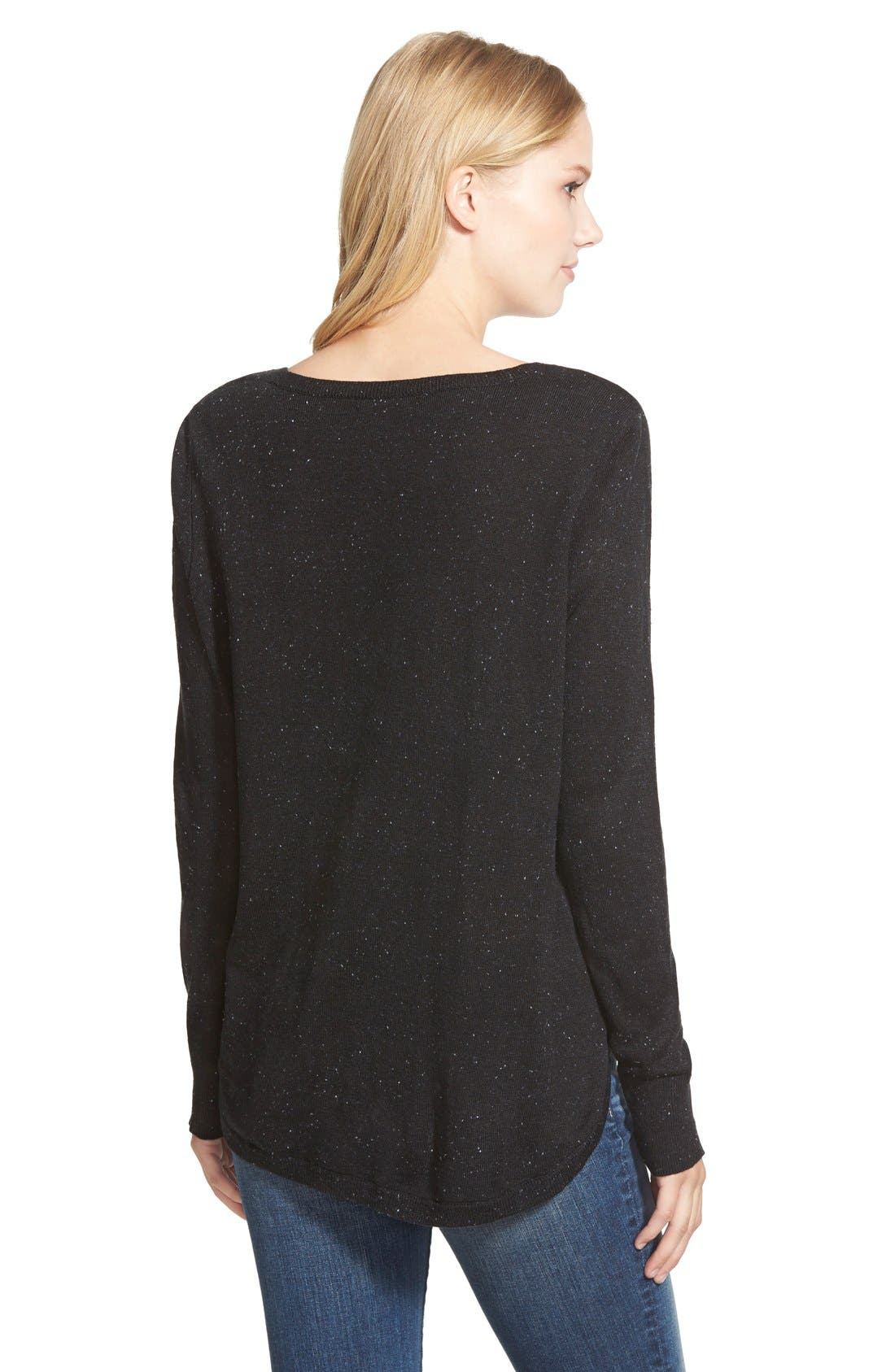 High-Low V-neck Sweater,                             Alternate thumbnail 9, color,                             001