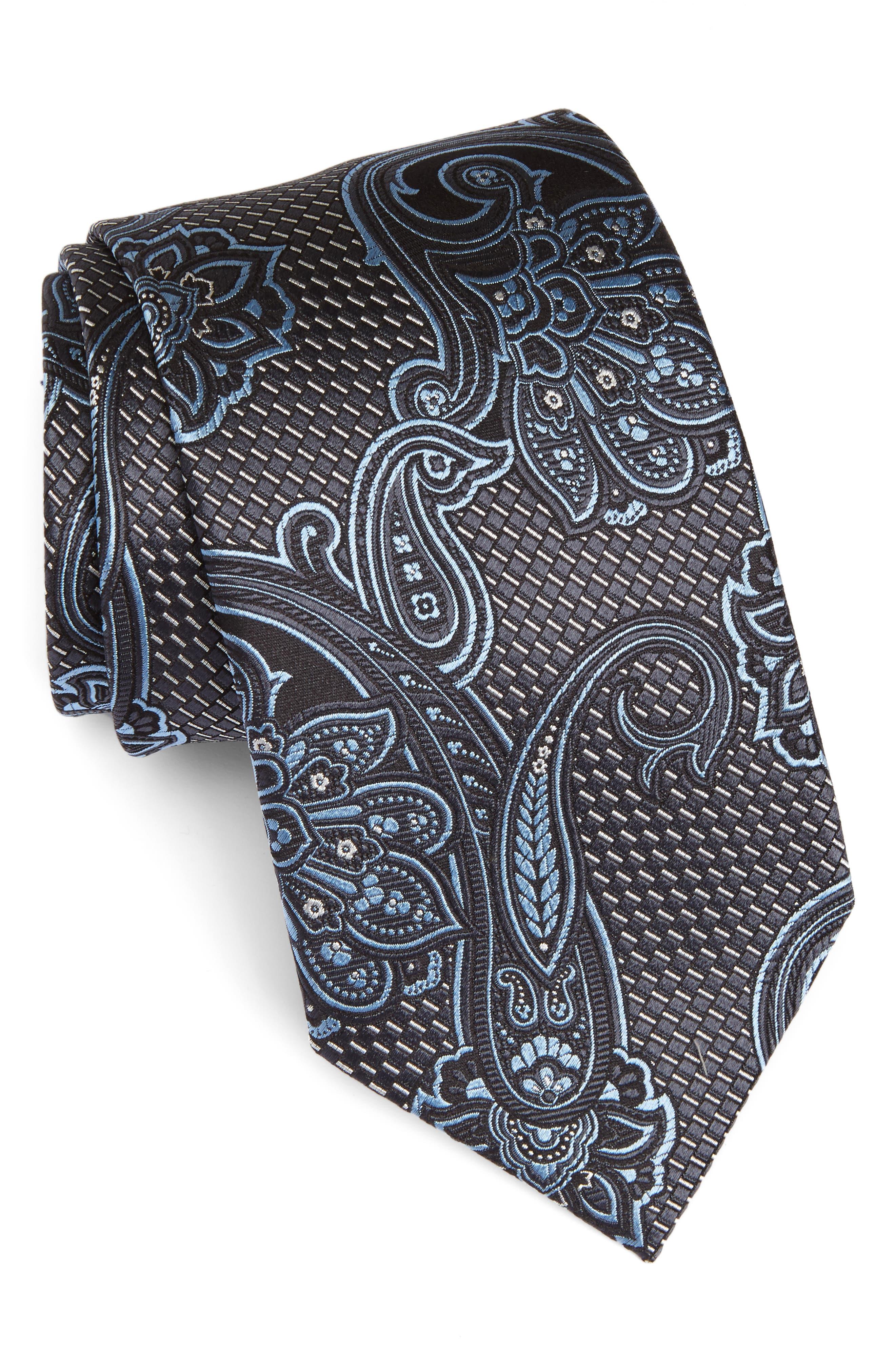 Paisley Silk Tie,                             Main thumbnail 1, color,                             028