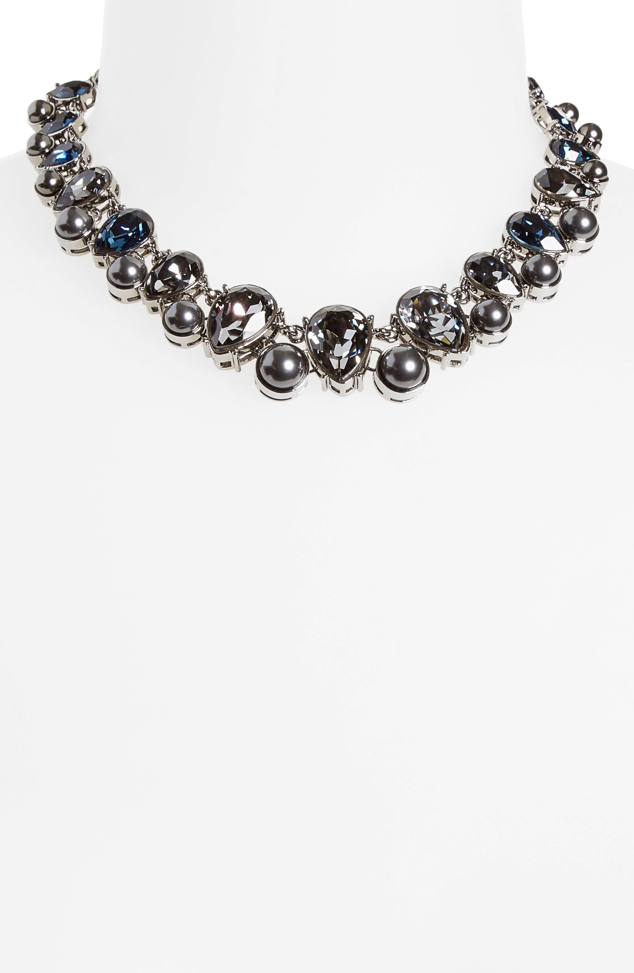 Swarovski Crystal & Imitation Pearl Necklace,                             Alternate thumbnail 2, color,                             040