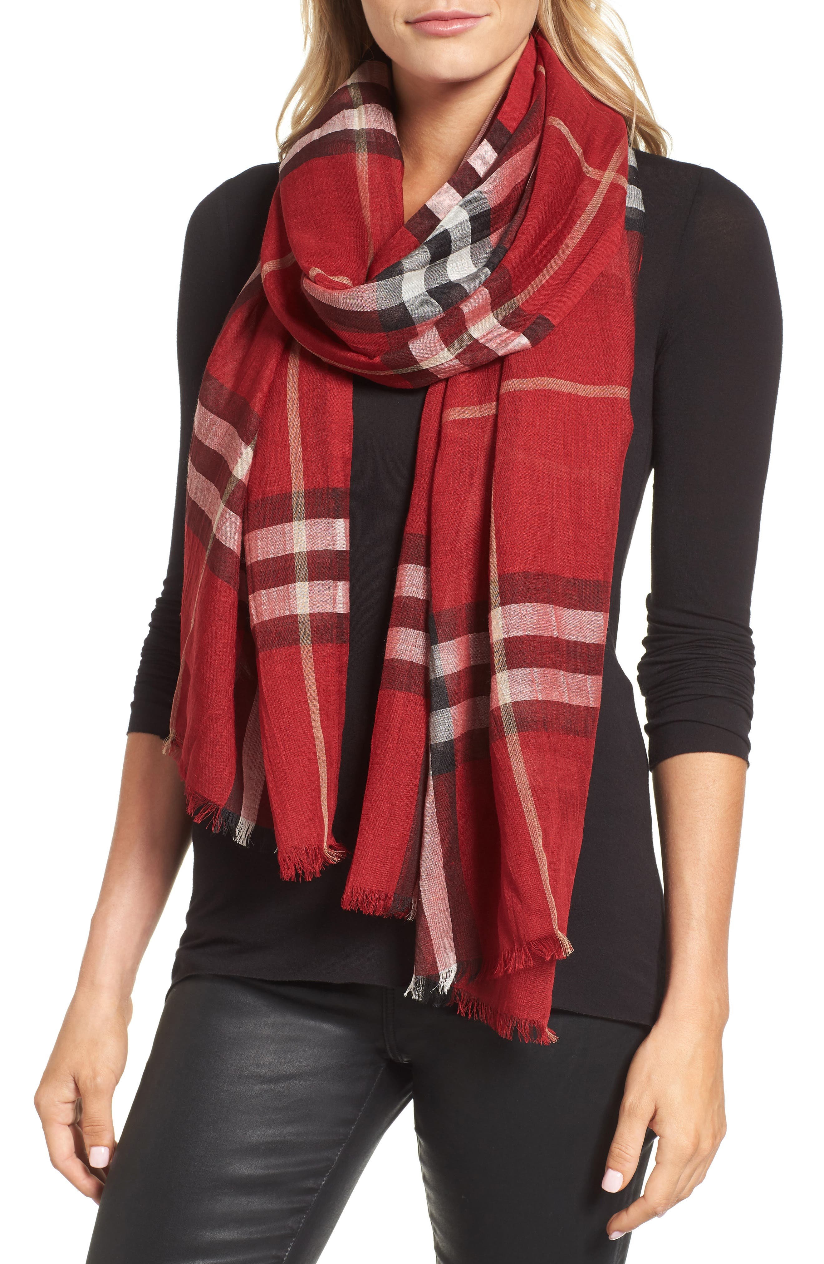 Giant Check Print Wool & Silk Scarf,                             Alternate thumbnail 121, color,