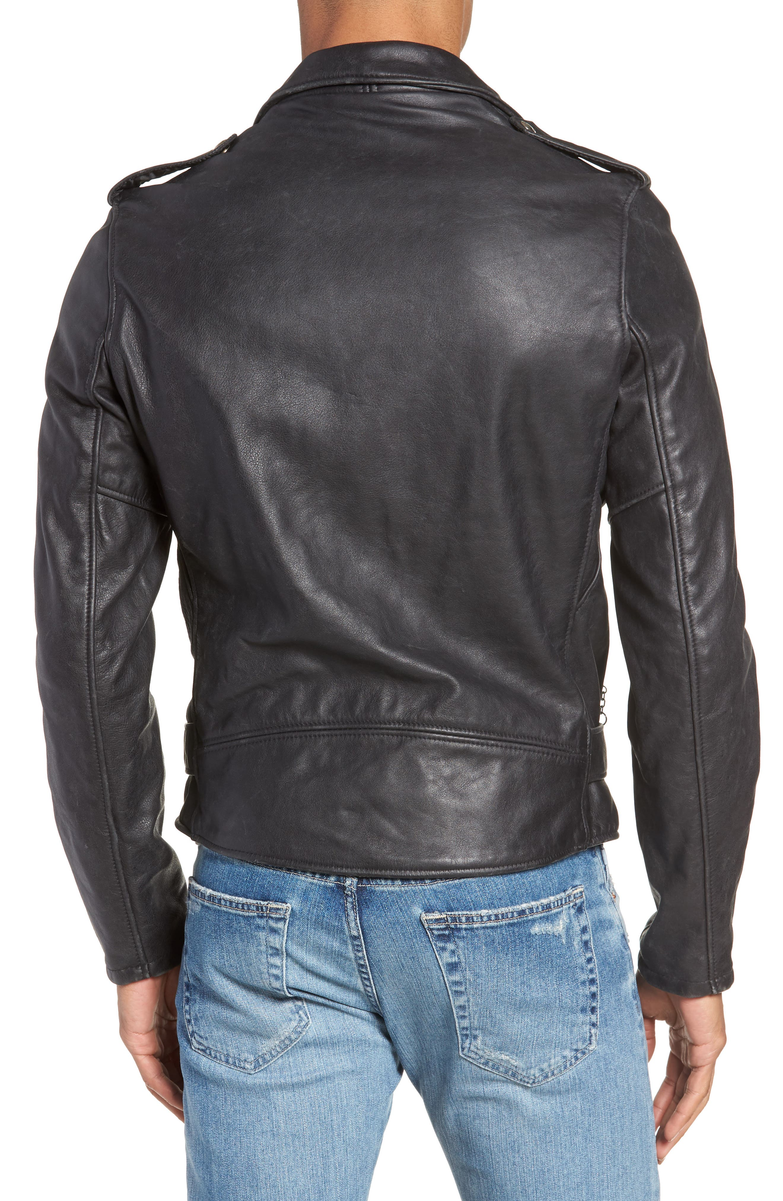 Hand Vintaged Cowhide Leather Motocycle Jacket,                             Alternate thumbnail 2, color,                             BLACK