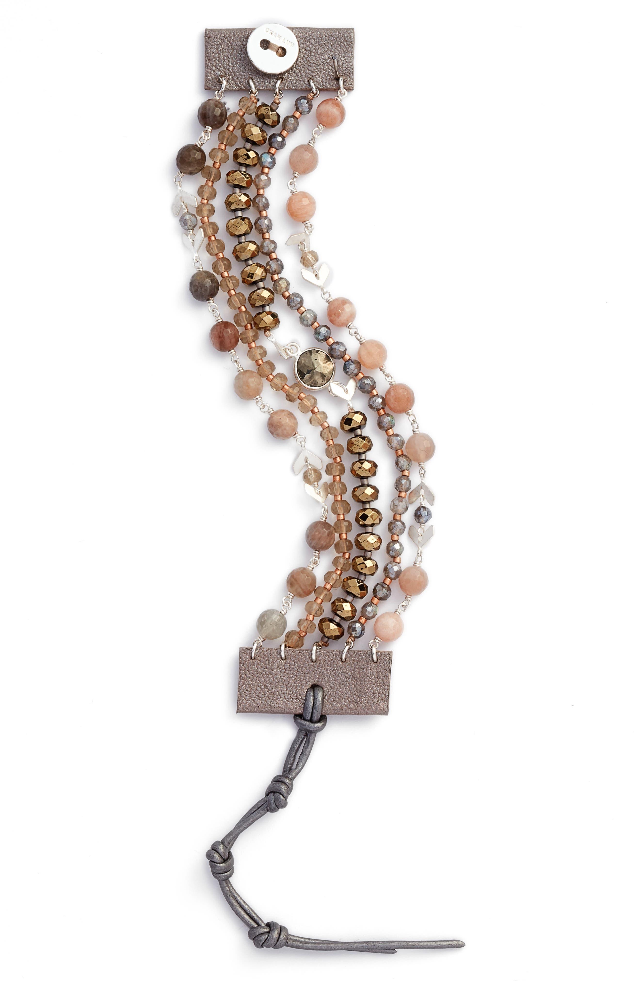 Multistrand Semiprecious Stone Bracelet,                             Main thumbnail 2, color,