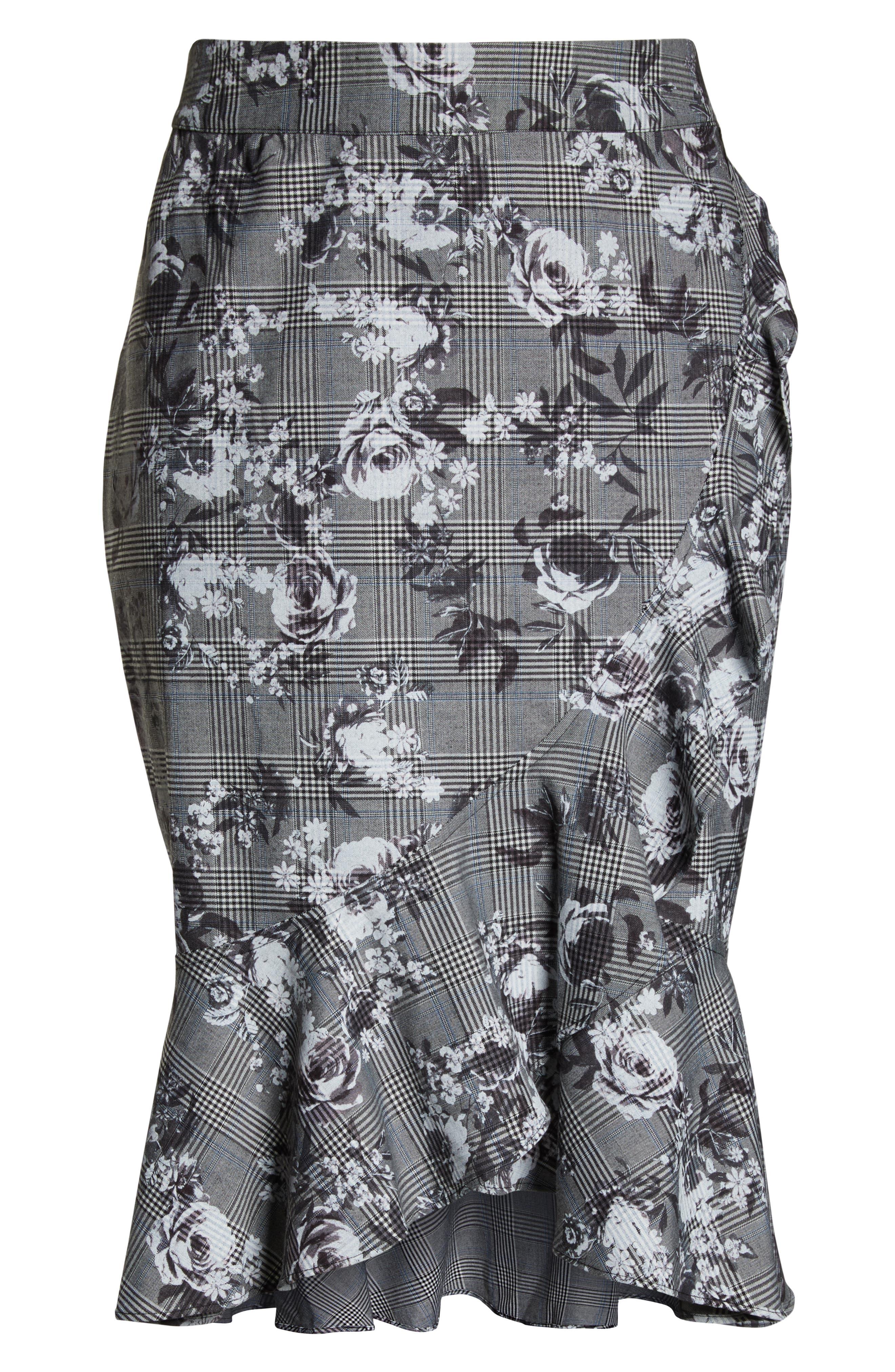 Bailen Pattern Mix Skirt,                             Alternate thumbnail 6, color,                             GREY COMBO