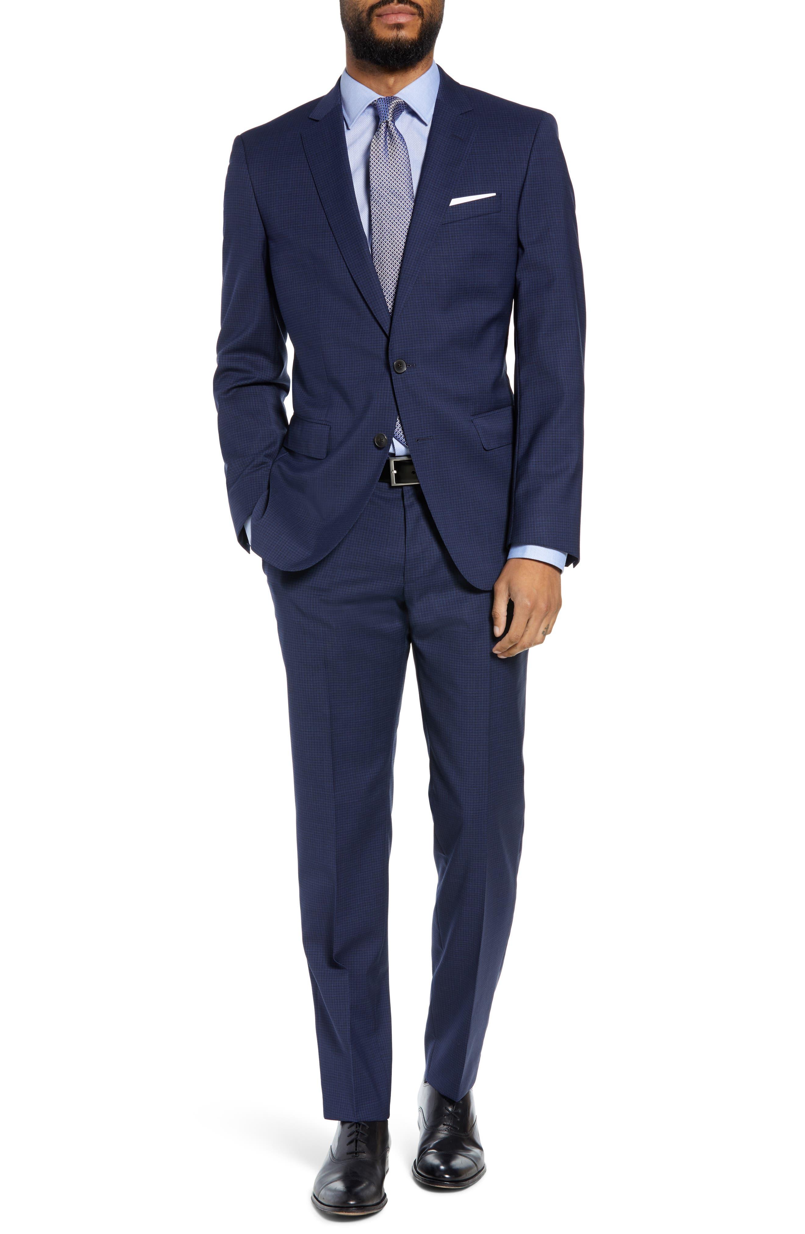 Huge/Genius Trim Fit Solid Wool Suit,                         Main,                         color, DARK BLUE