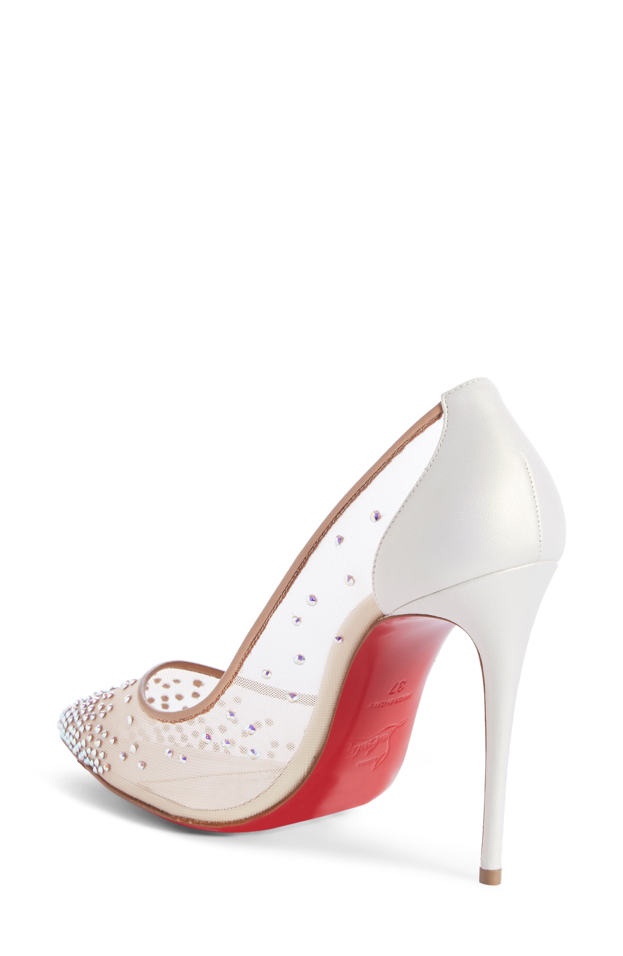 Follies Strass Pointy Toe Pump,                             Alternate thumbnail 2, color,                             SNOW/ NUDE