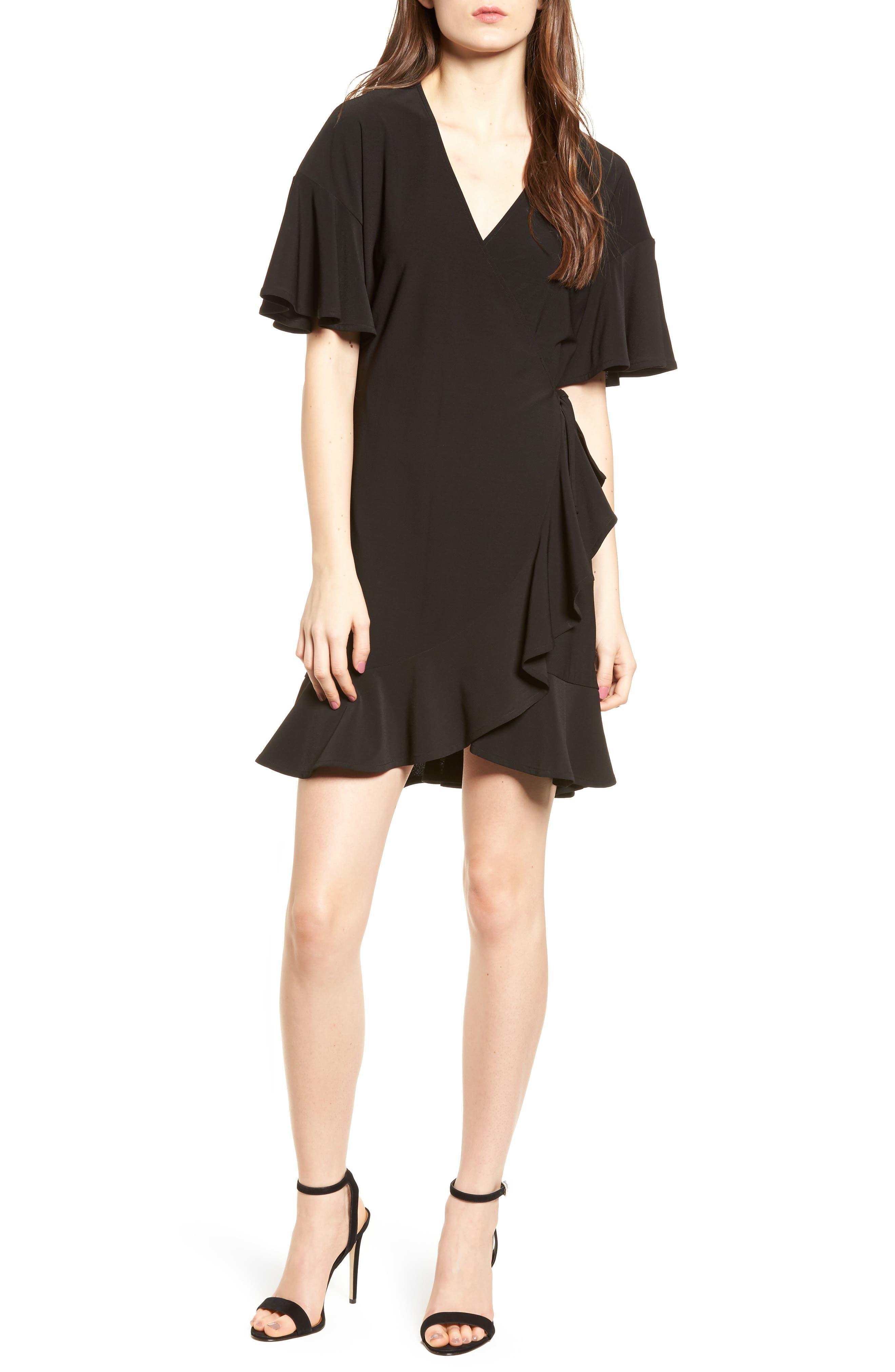 Flounce Sleeve Wrap Dress,                             Main thumbnail 1, color,                             001
