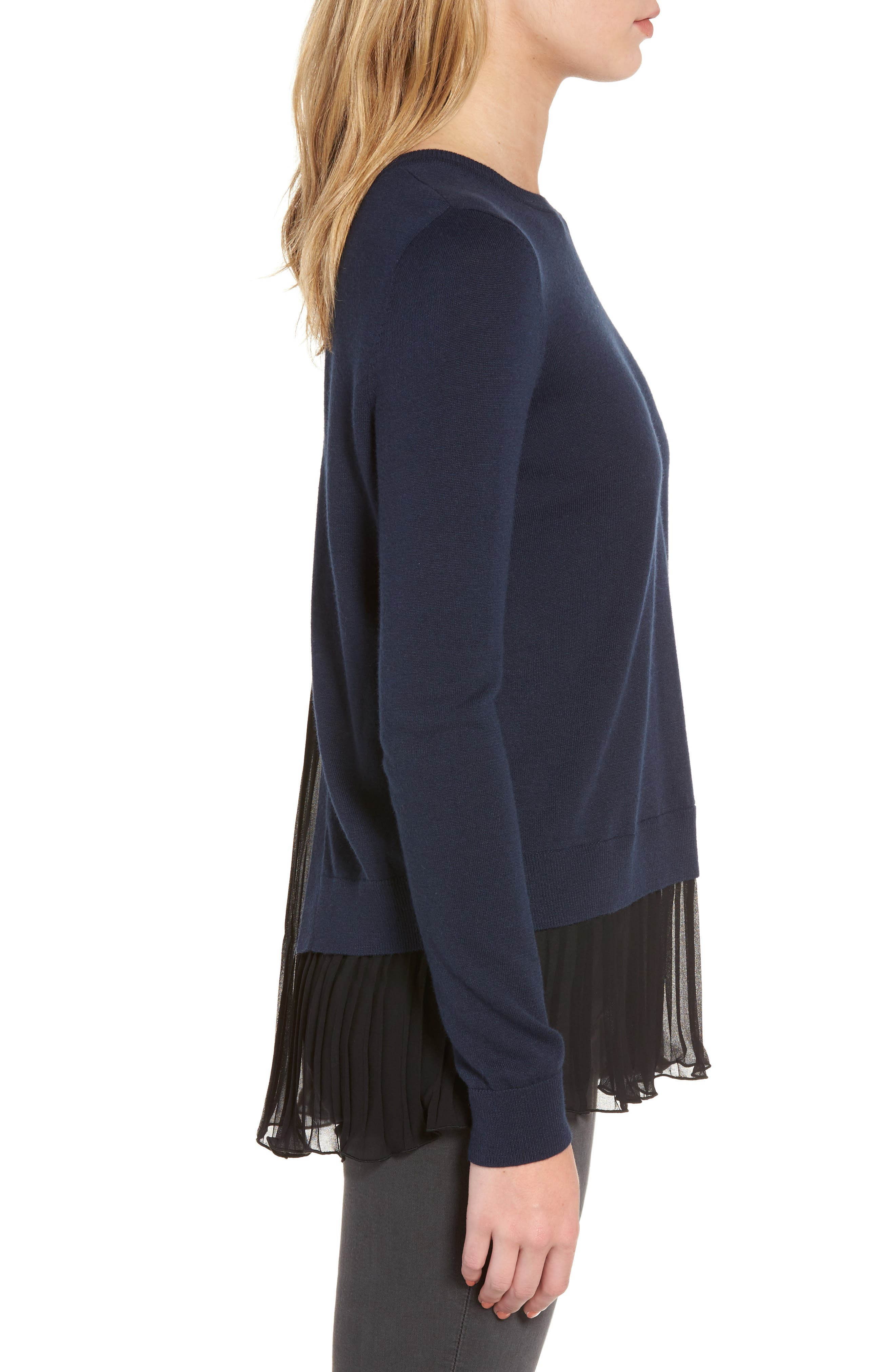 Pleated Hem Sweater,                             Alternate thumbnail 3, color,                             410