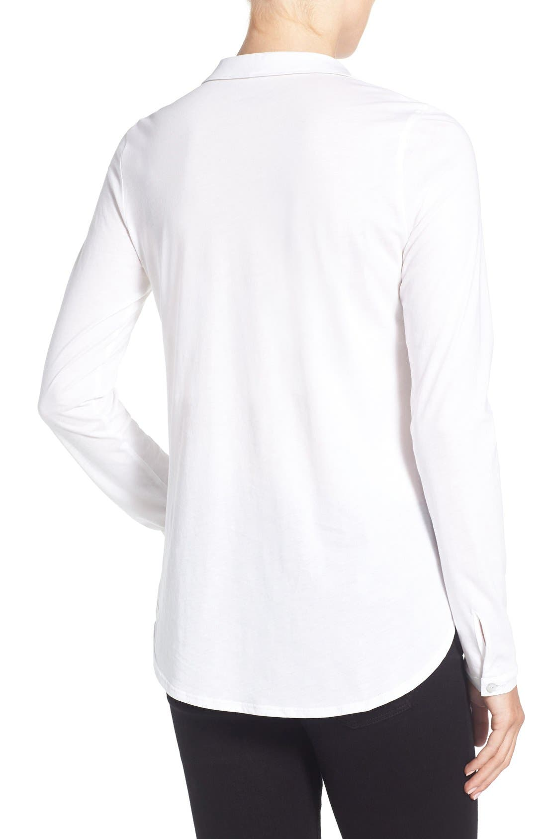 Organic Cotton Jersey Classic Collar Shirt,                             Alternate thumbnail 7, color,