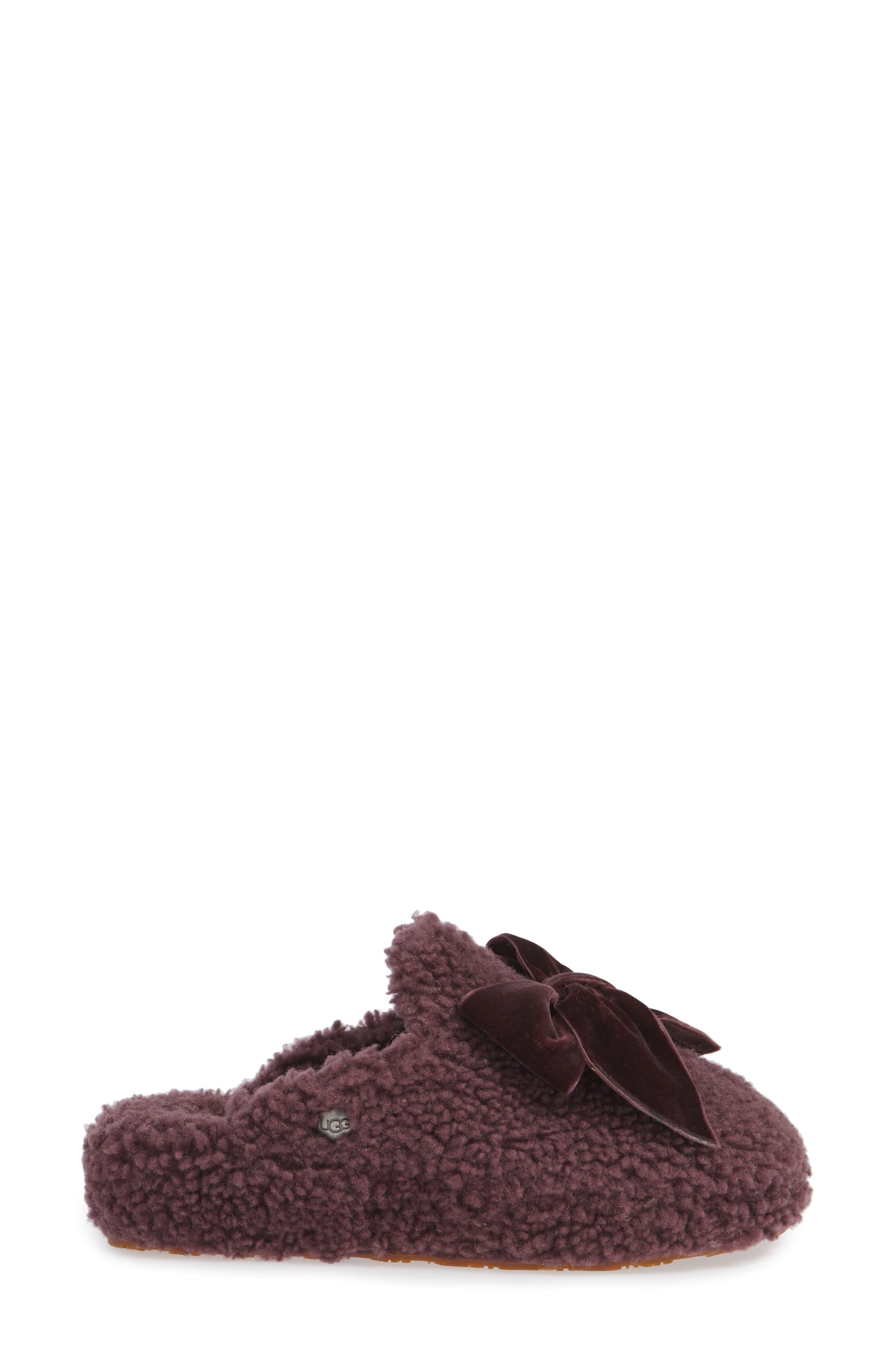 Addison Velvet Bow Genuine Shearling Slipper,                             Alternate thumbnail 3, color,                             PORT