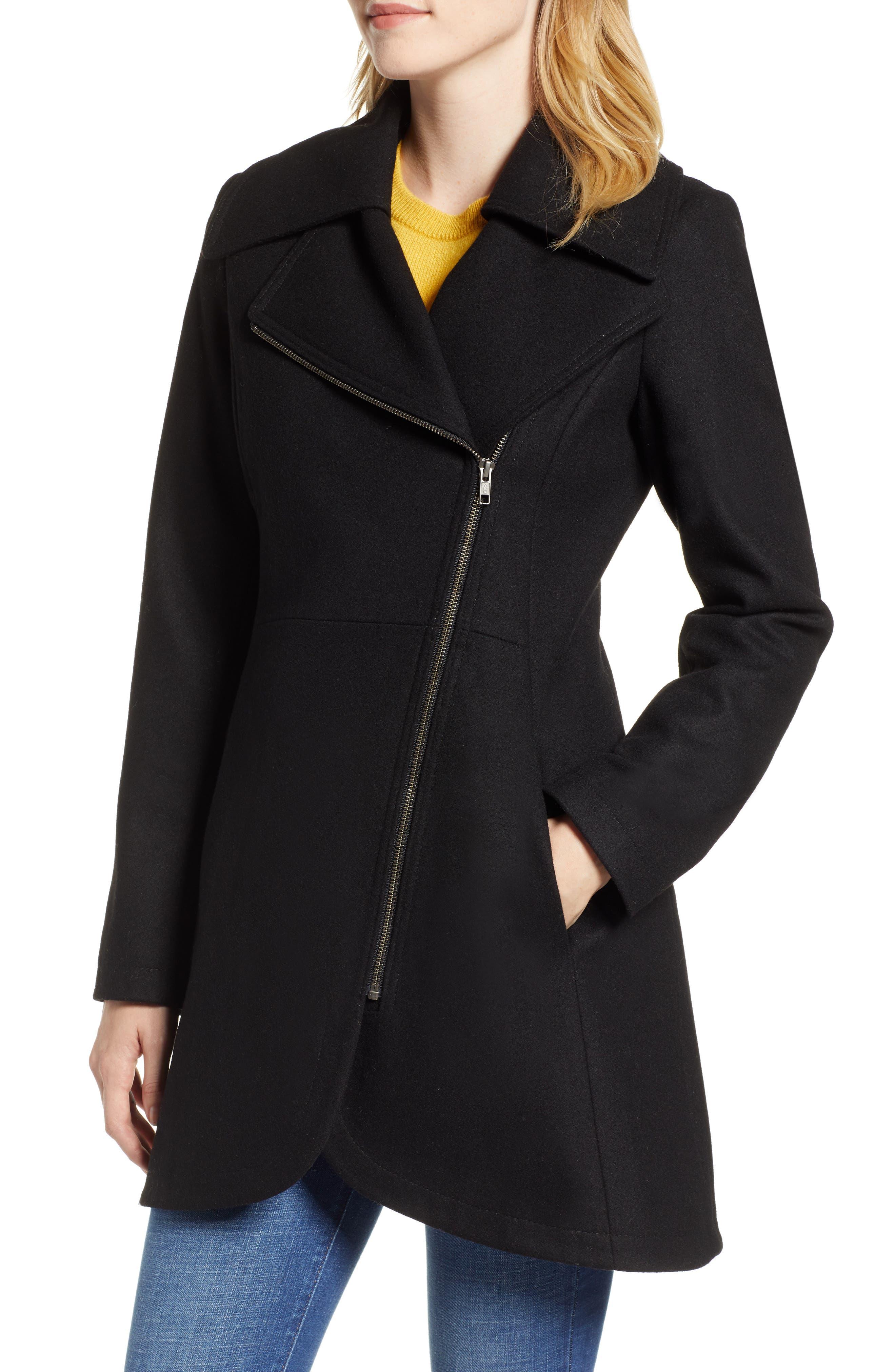 Asymmetrical Zip Wool Blend Coat,                             Main thumbnail 1, color,                             001