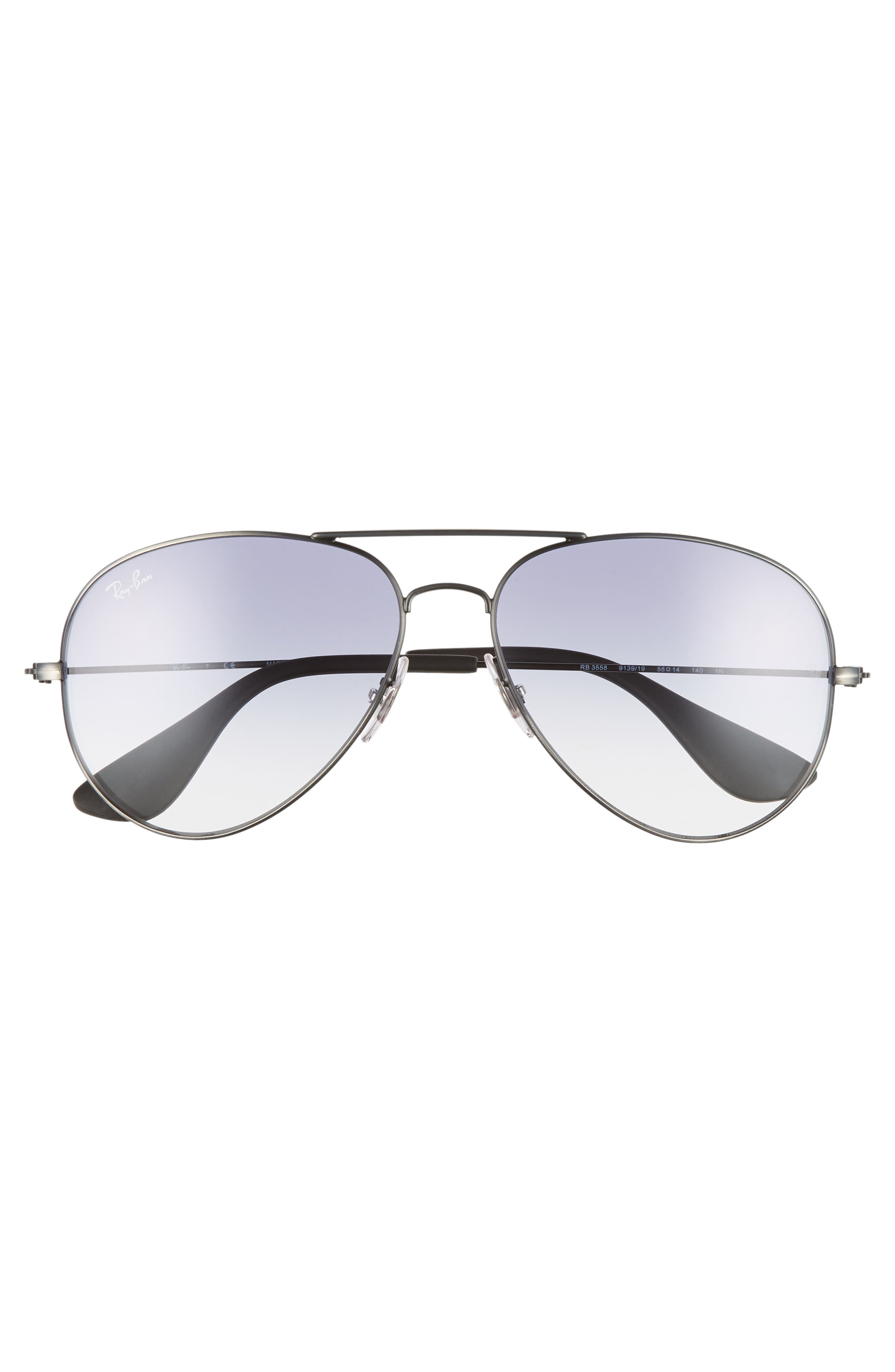 RAY-BAN,                             58mm Gradient Aviator Sunglasses,                             Alternate thumbnail 3, color,                             SILVER/ LIGHT BLUE GRADIENT