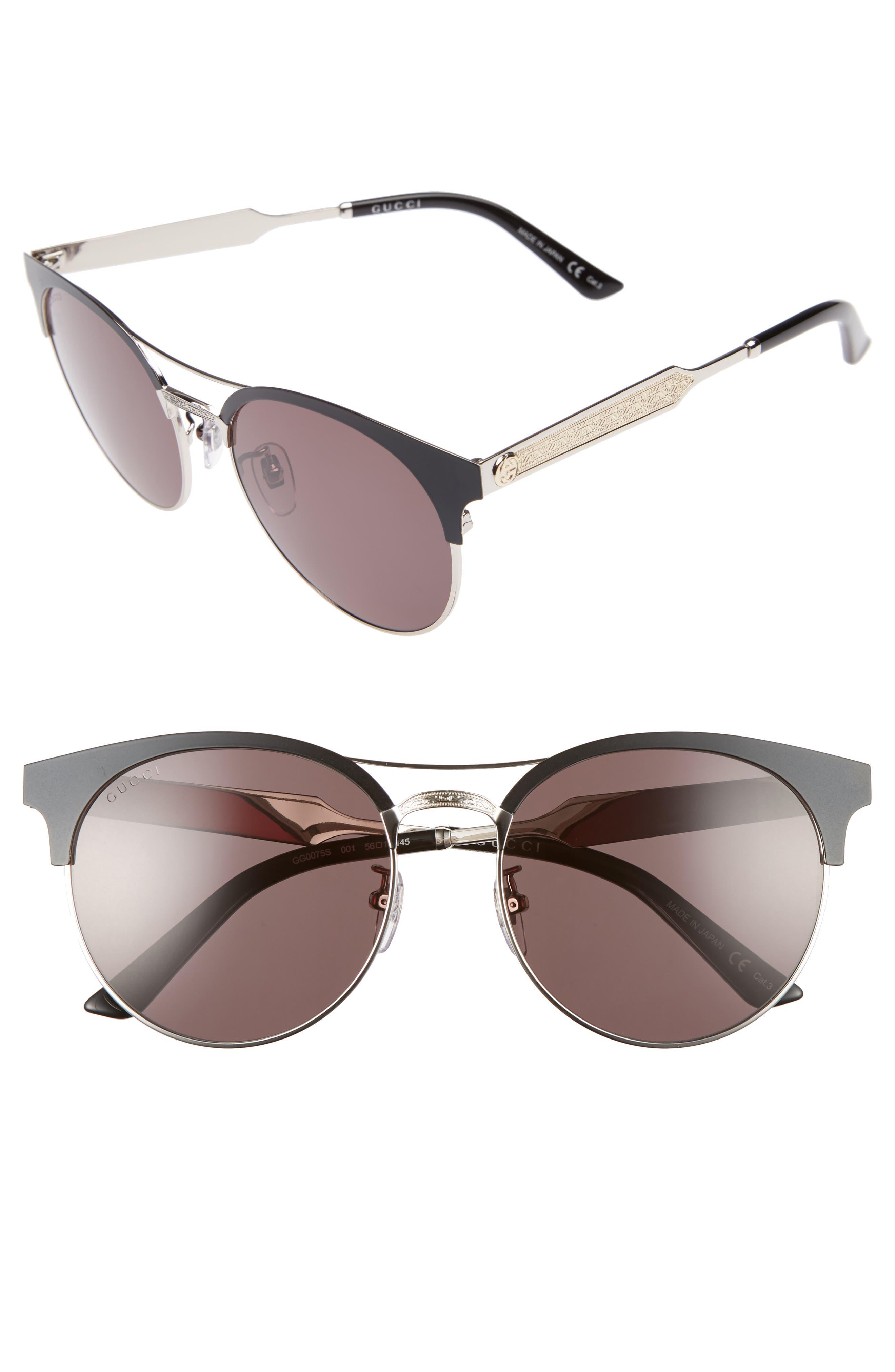 56mm Retro Sunglasses,                         Main,                         color, 001