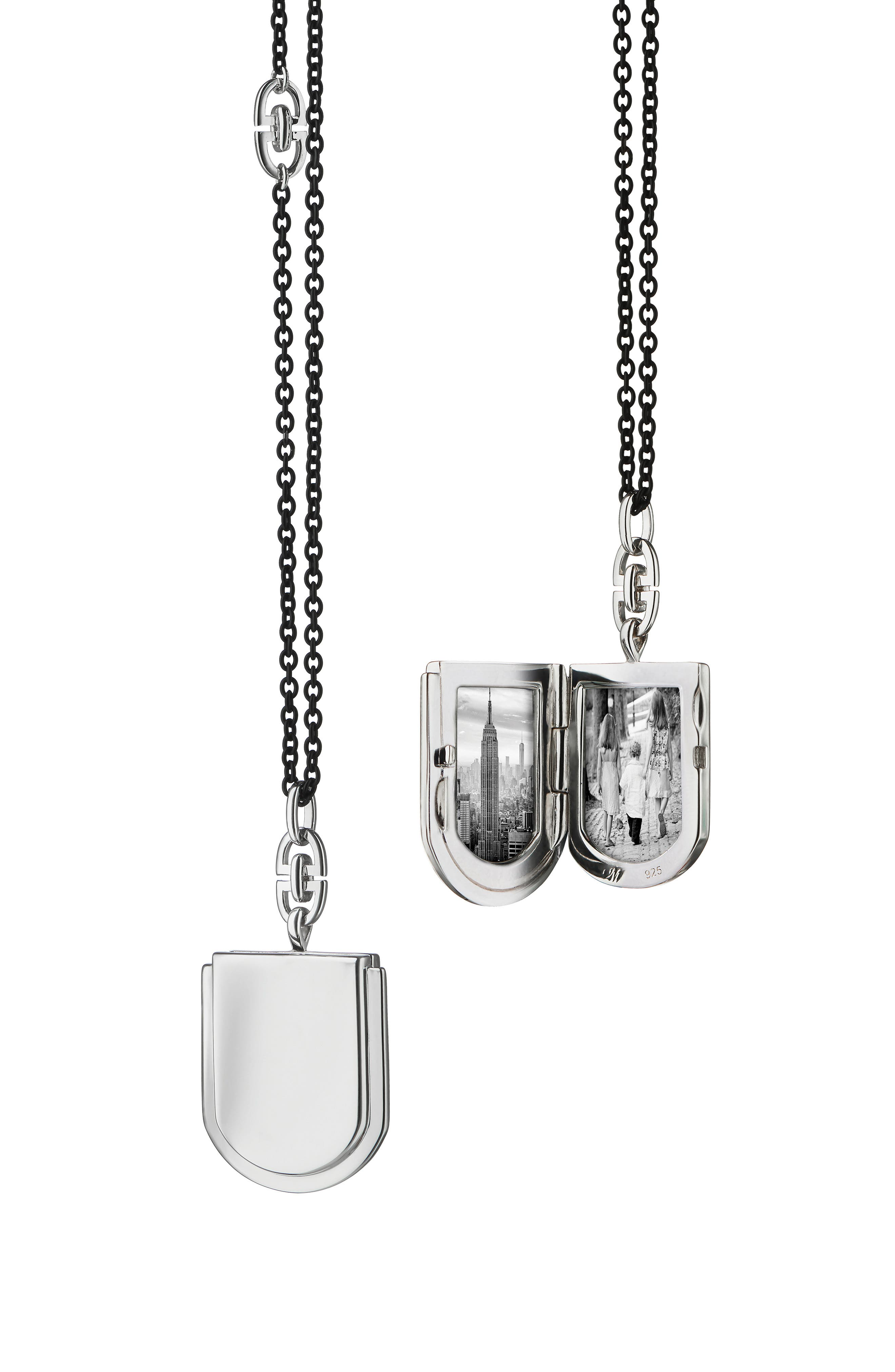 Petite Horseshoe Silver Locket Necklace,                         Main,                         color, SILVER