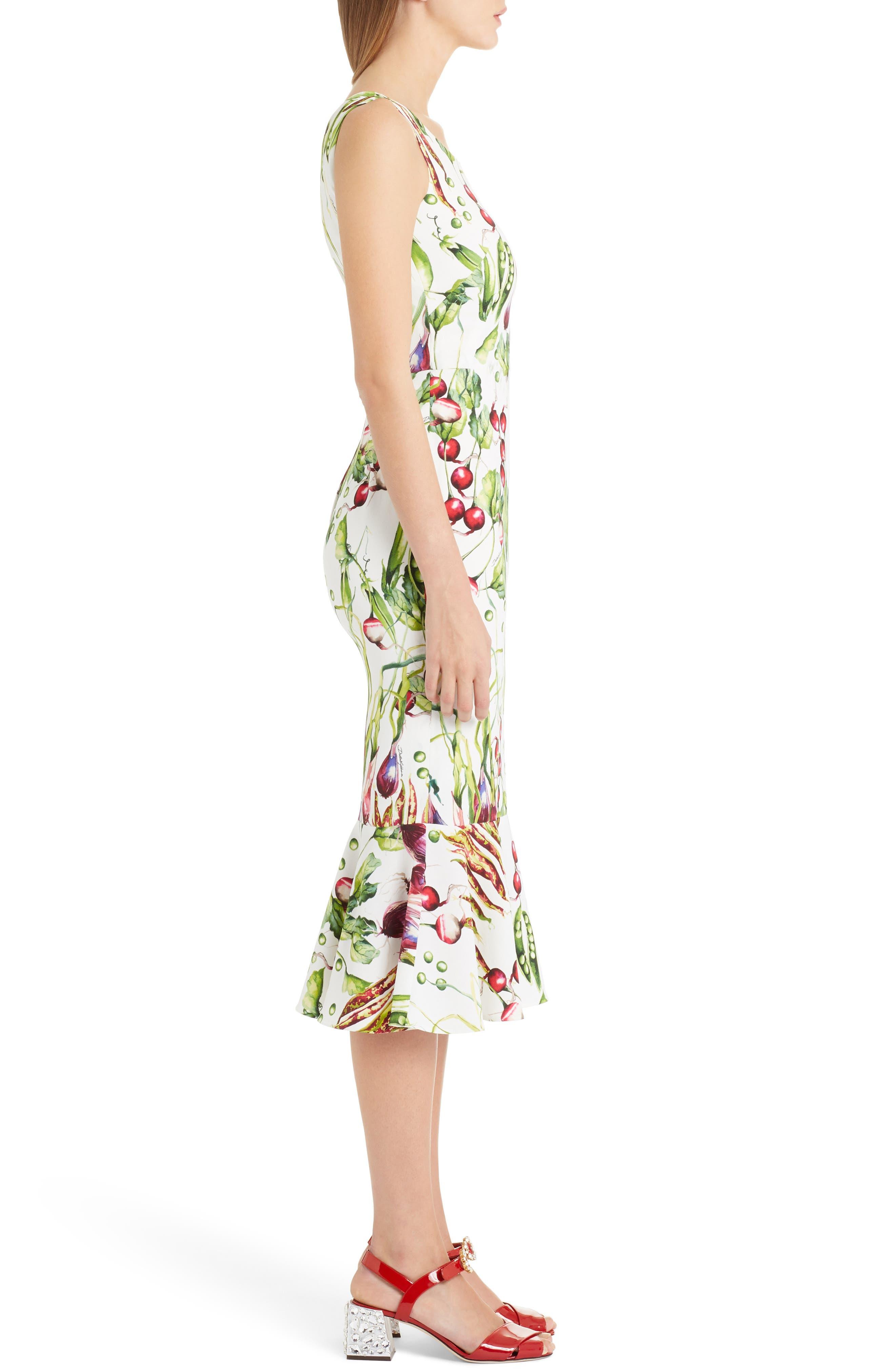 Garden Print Flare Hem Cady Dress,                             Alternate thumbnail 3, color,                             115