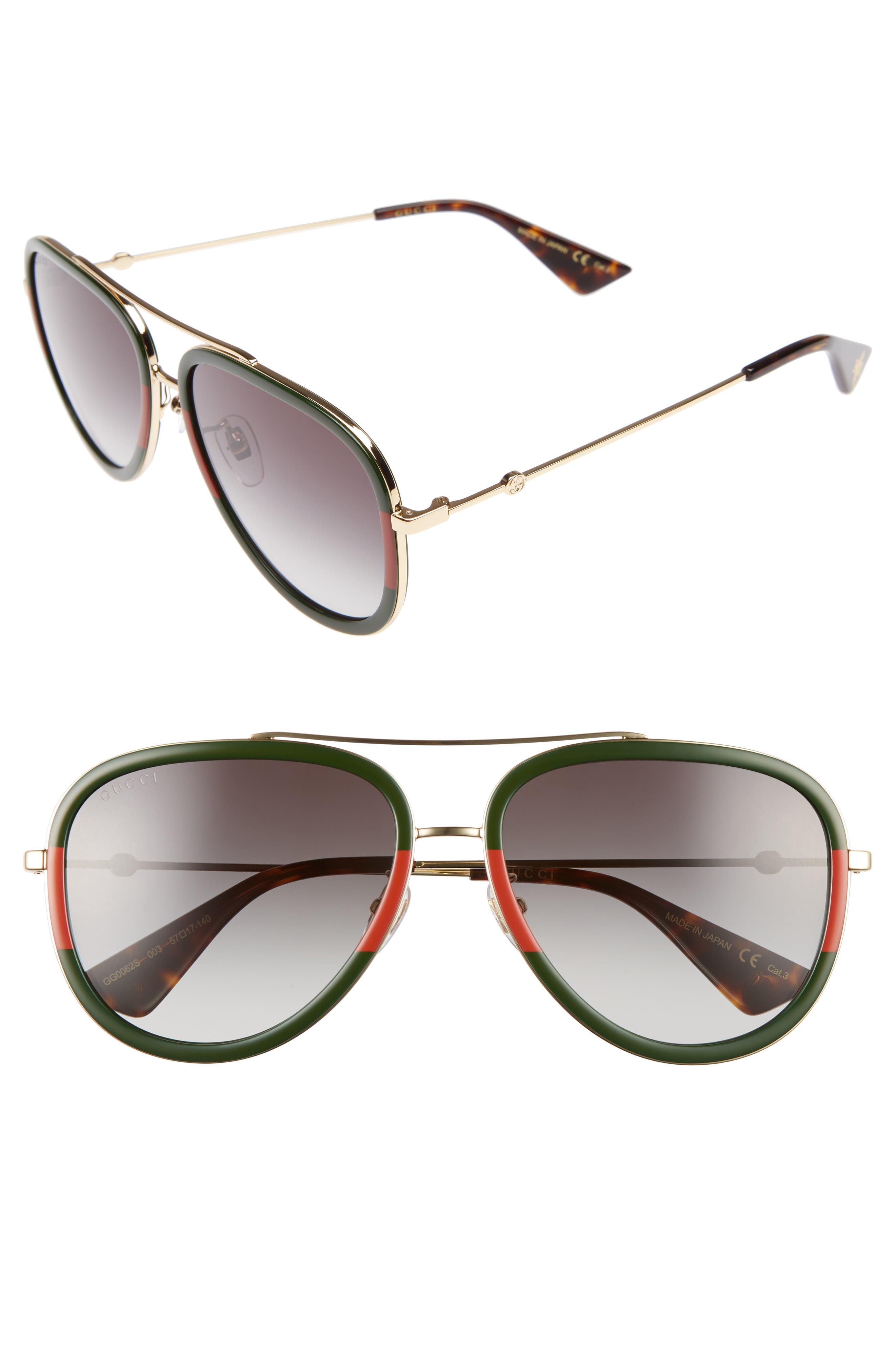 Gucci 57Mm Aviator Sunglasses -
