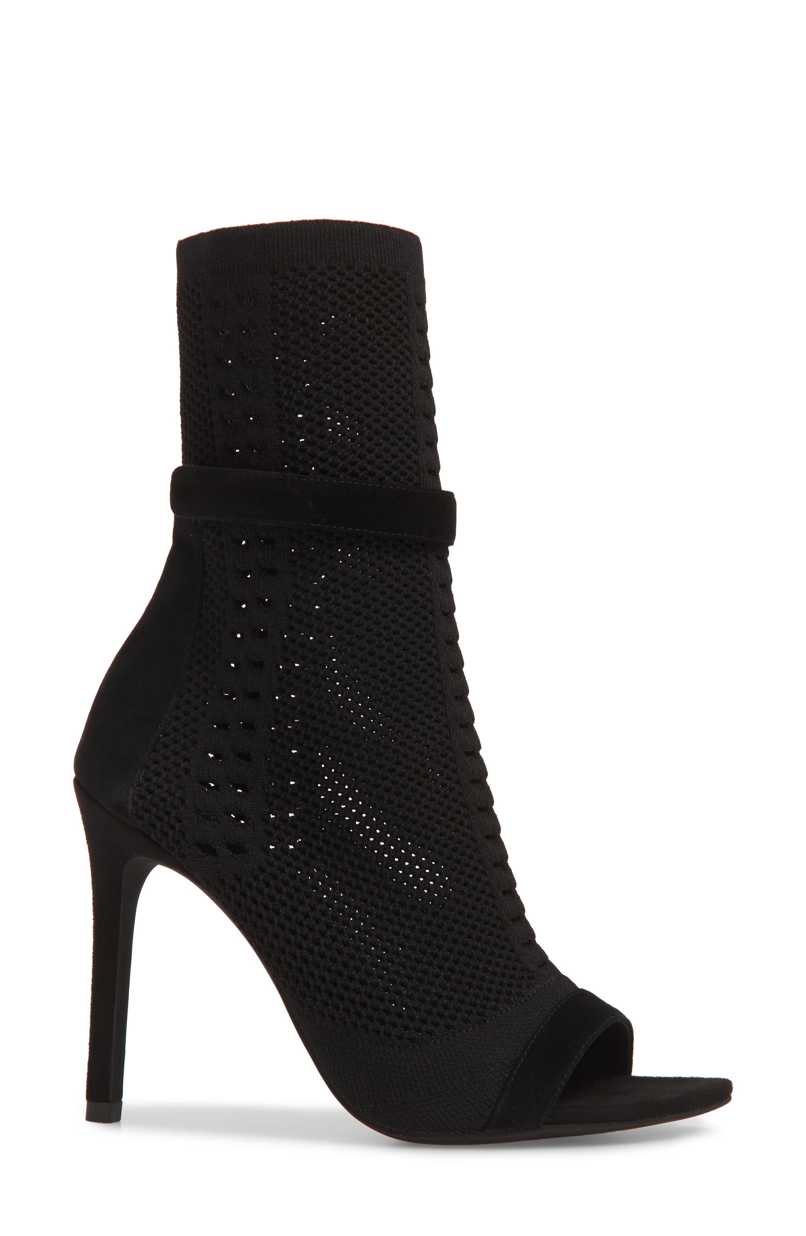Kehlani Knit Bootie Sandal,                             Alternate thumbnail 3, color,                             BLACK SUEDE-BLACK WOVEN