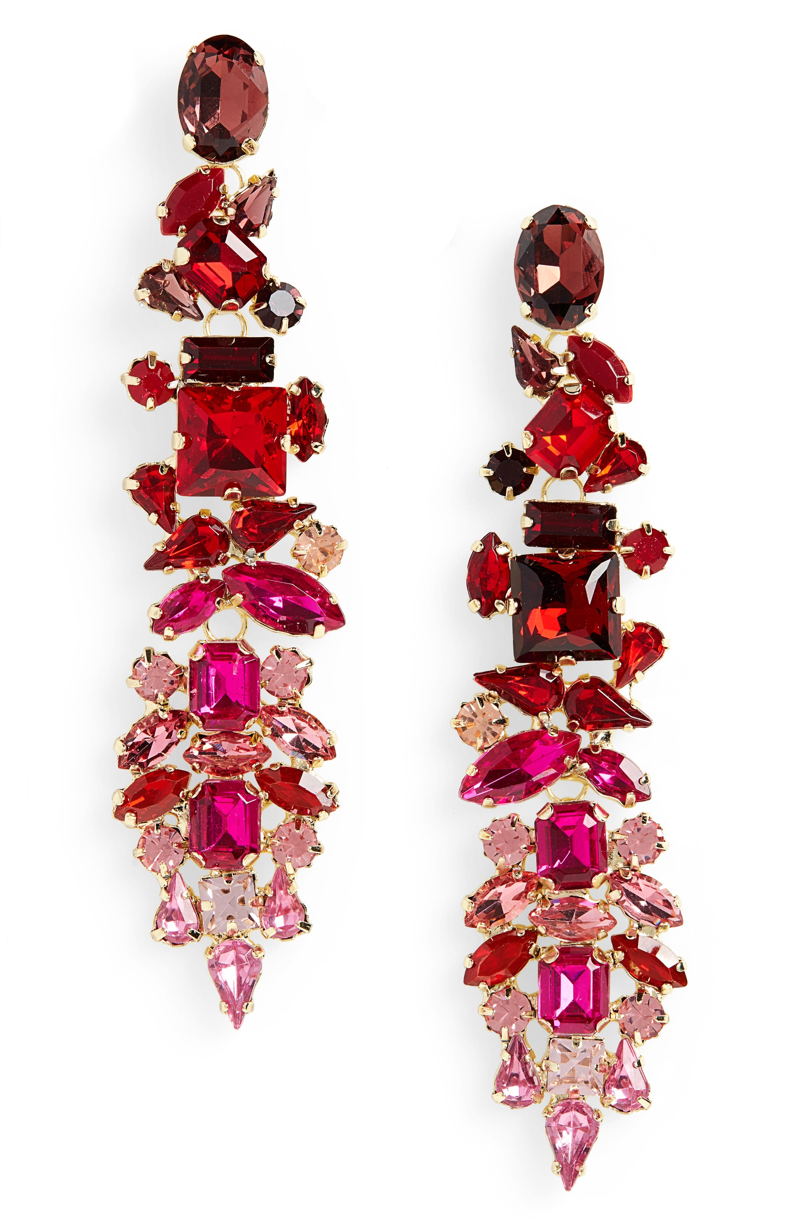 Dynasty Statement Earrings,                             Main thumbnail 1, color,                             GOLD/ FUSCHIA