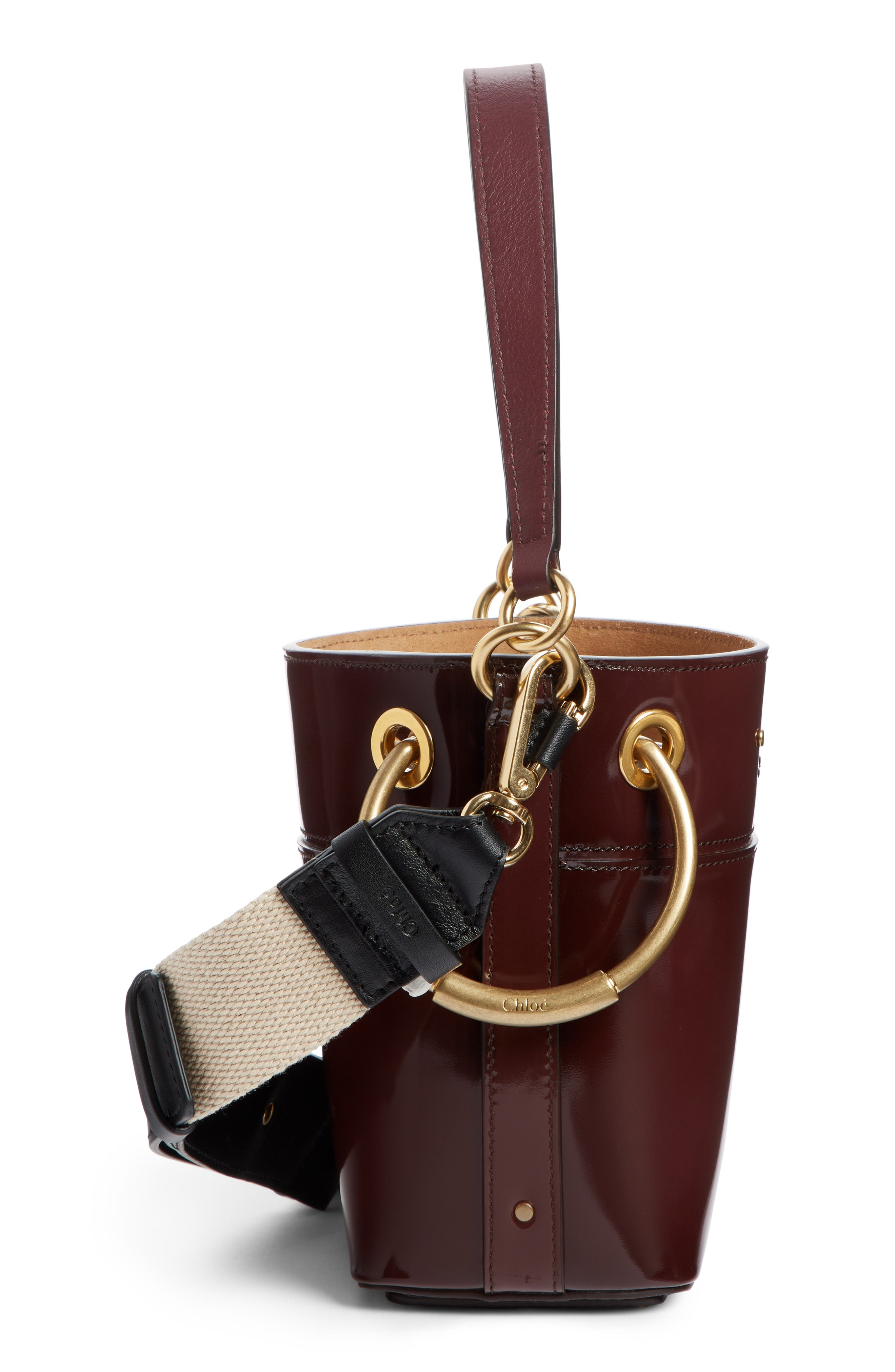 Small Roy Leather Bucket Bag,                             Alternate thumbnail 4, color,                             BURNT BROWN