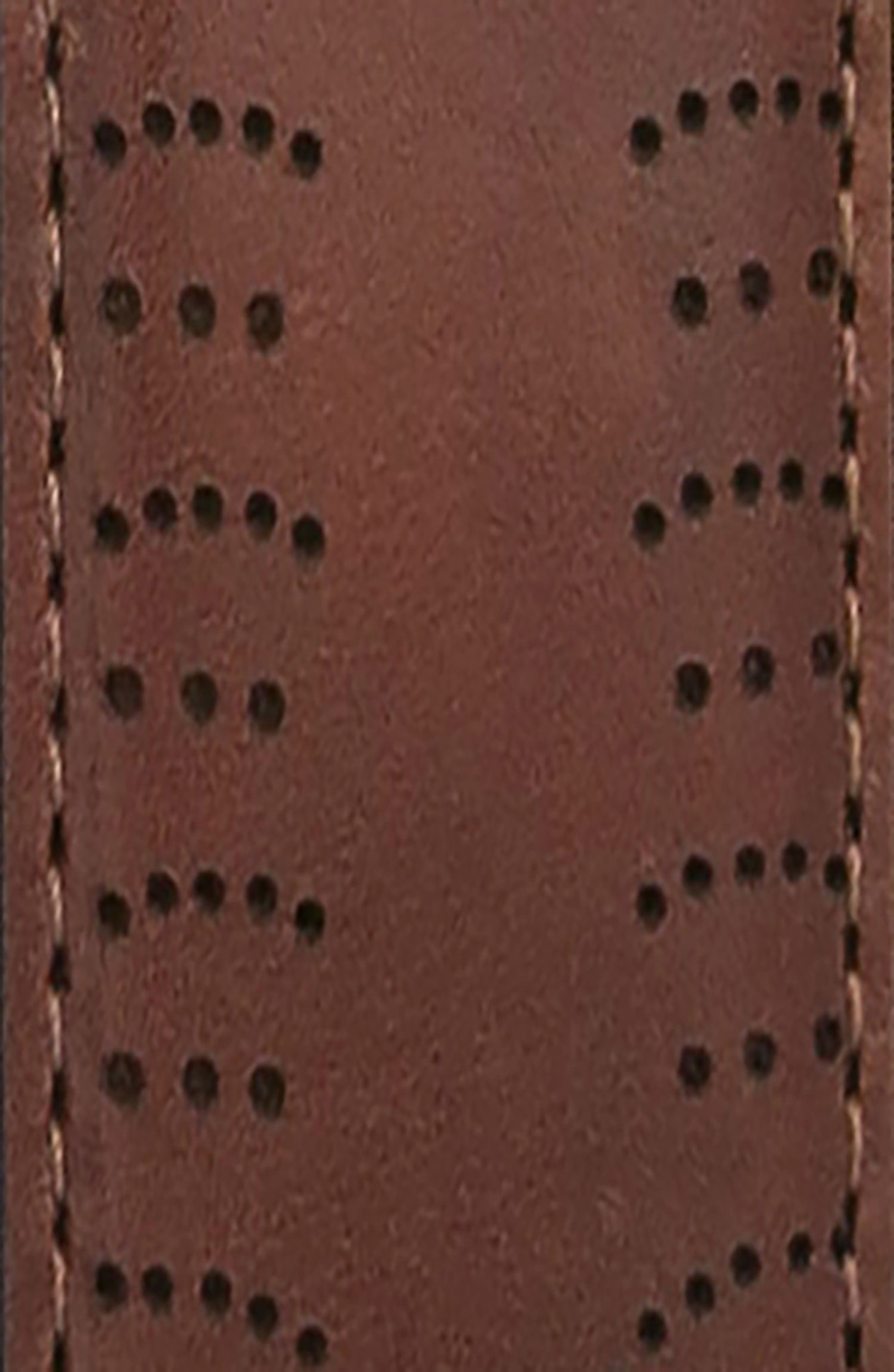 Perforated Tab Leather Belt,                             Alternate thumbnail 4, color,                             COGNAC