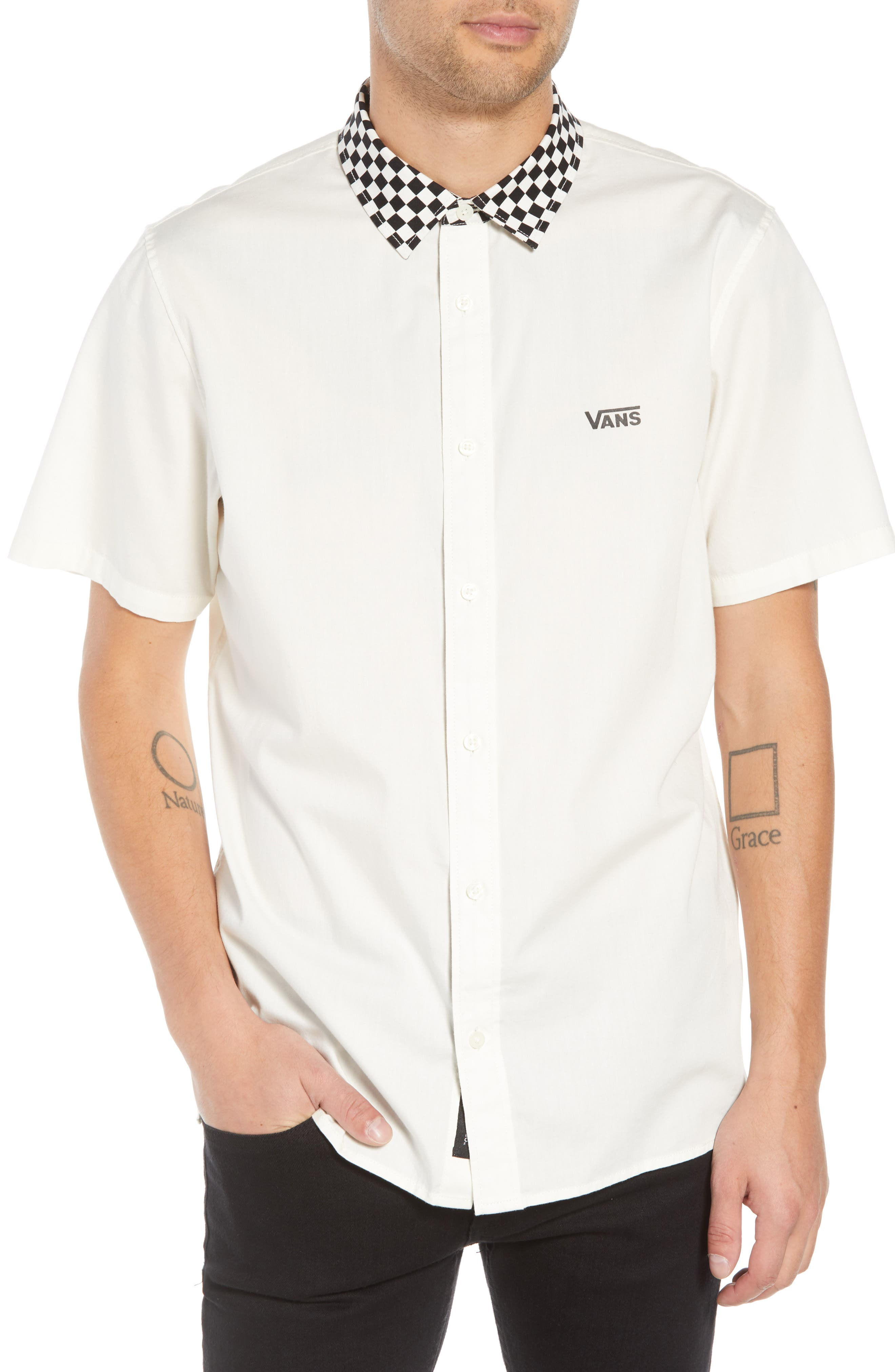 Check Collar Short Sleeve Shirt,                             Main thumbnail 1, color,                             OFF WHITE